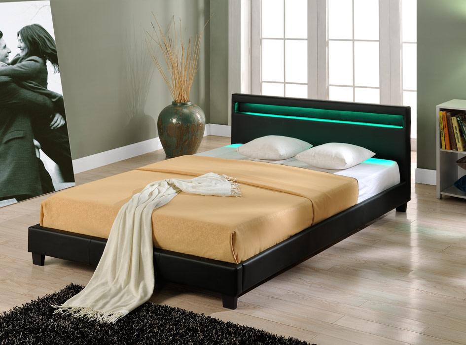 Design LED Doppelbett Polsterbett 160x200cm Bettgestell bett schwarz ...
