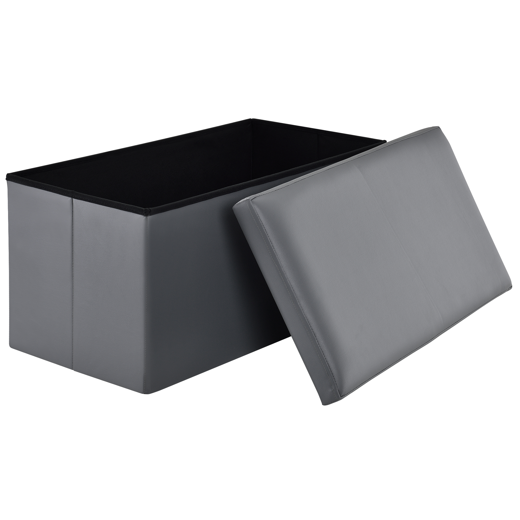 [en.casa]® Skládací taburet - koženka - šedý - 76 x 38 x 38 cm