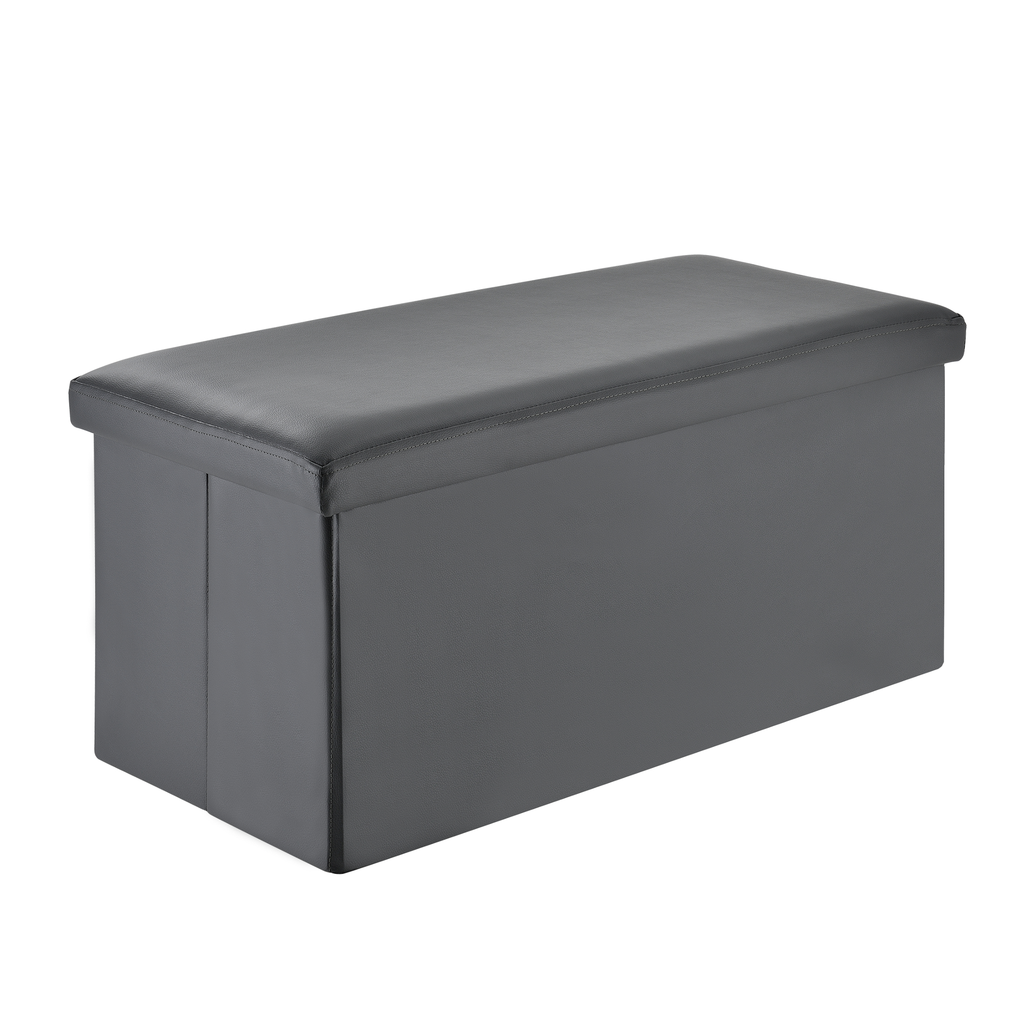 cube seat stool pouf grey 76x38x38cm storage box coffer ebay. Black Bedroom Furniture Sets. Home Design Ideas