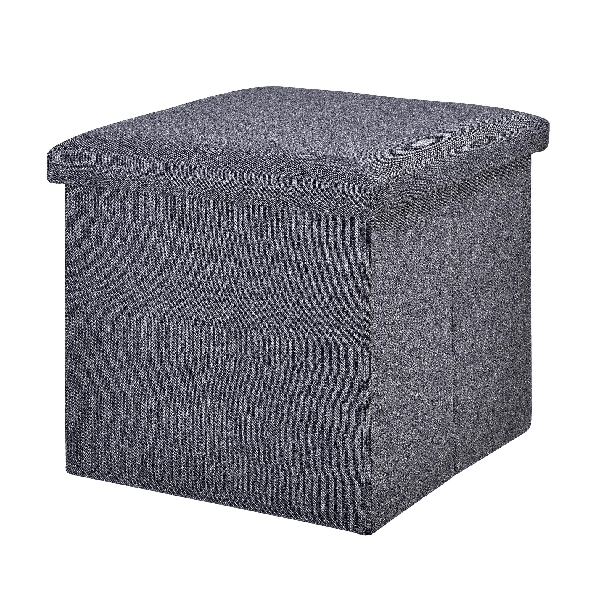 banc de rangement 38x38x38cm gris fonc porte pieds ebay. Black Bedroom Furniture Sets. Home Design Ideas