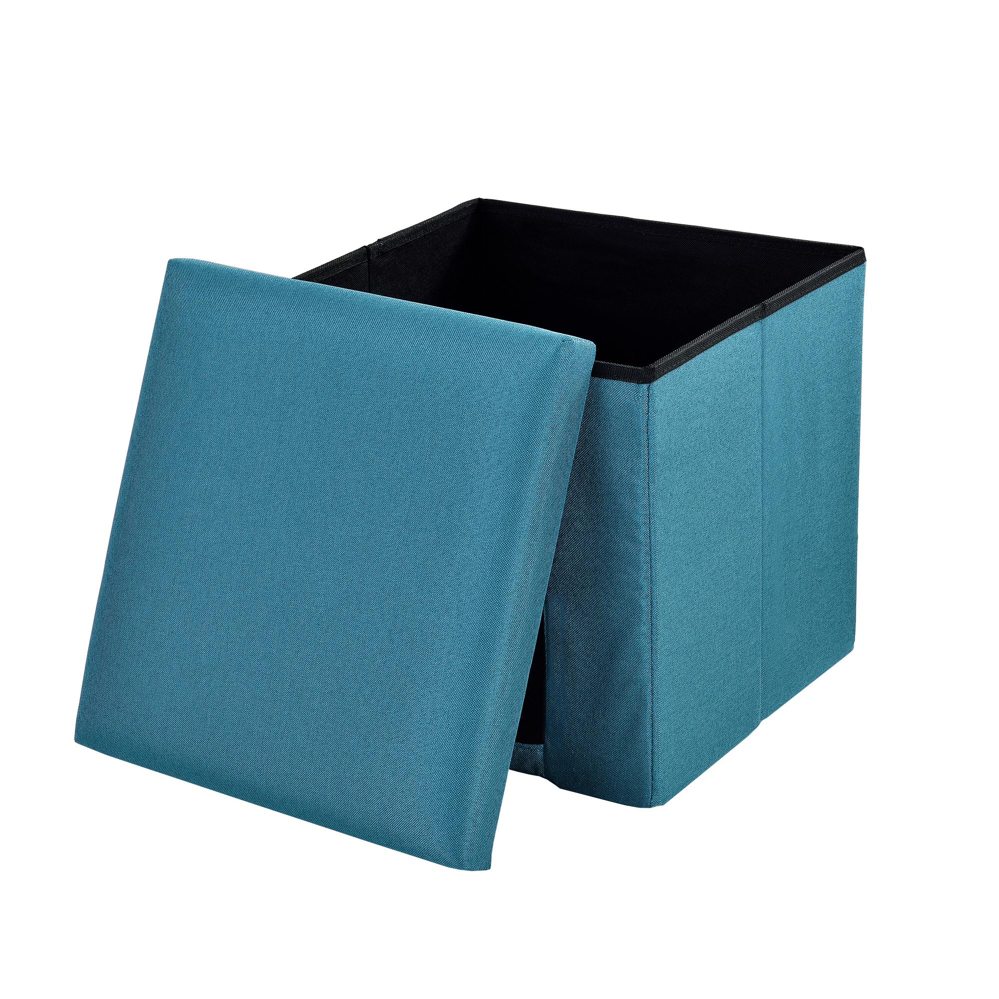 [en.casa]® Skládací taburet - textil - tyrkysový - 38 x 38 x 38 cm