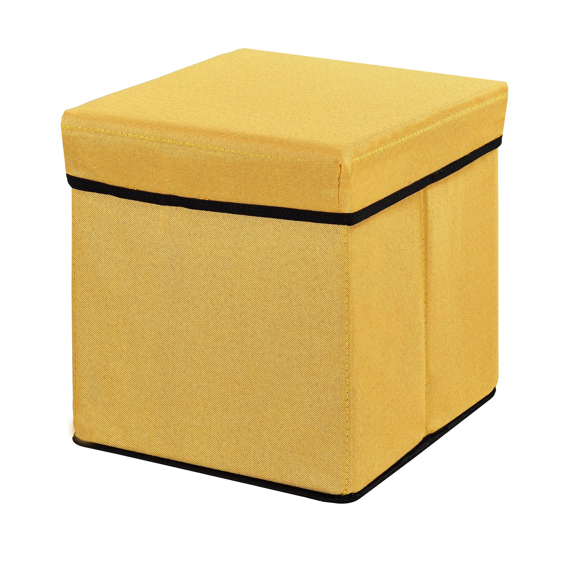 banc de rangement 38x38x38cm moutard porte pieds ebay. Black Bedroom Furniture Sets. Home Design Ideas