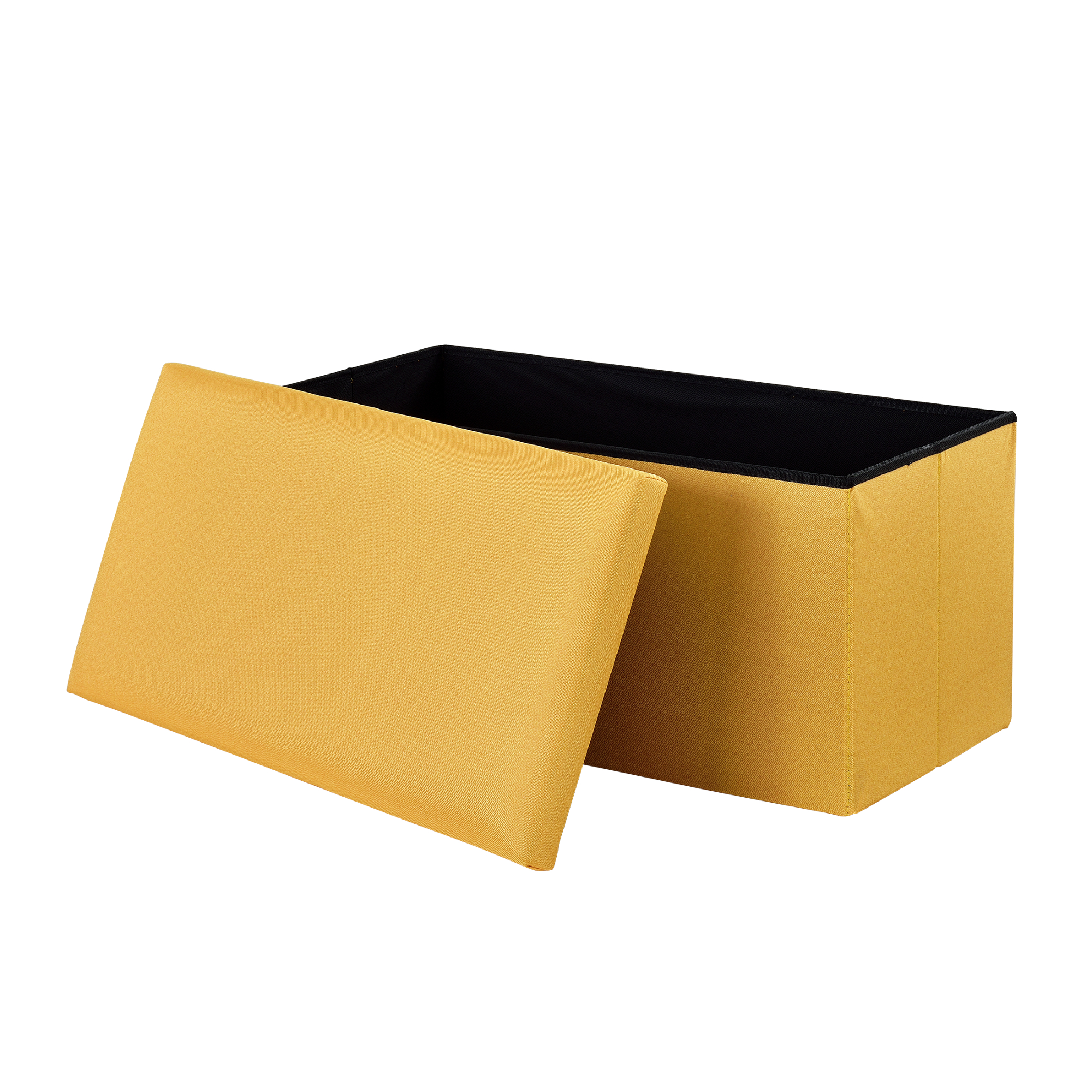 [en.casa]® Skládací taburet - textil - horčicově žlutý - 76 x 38 x 38 cm