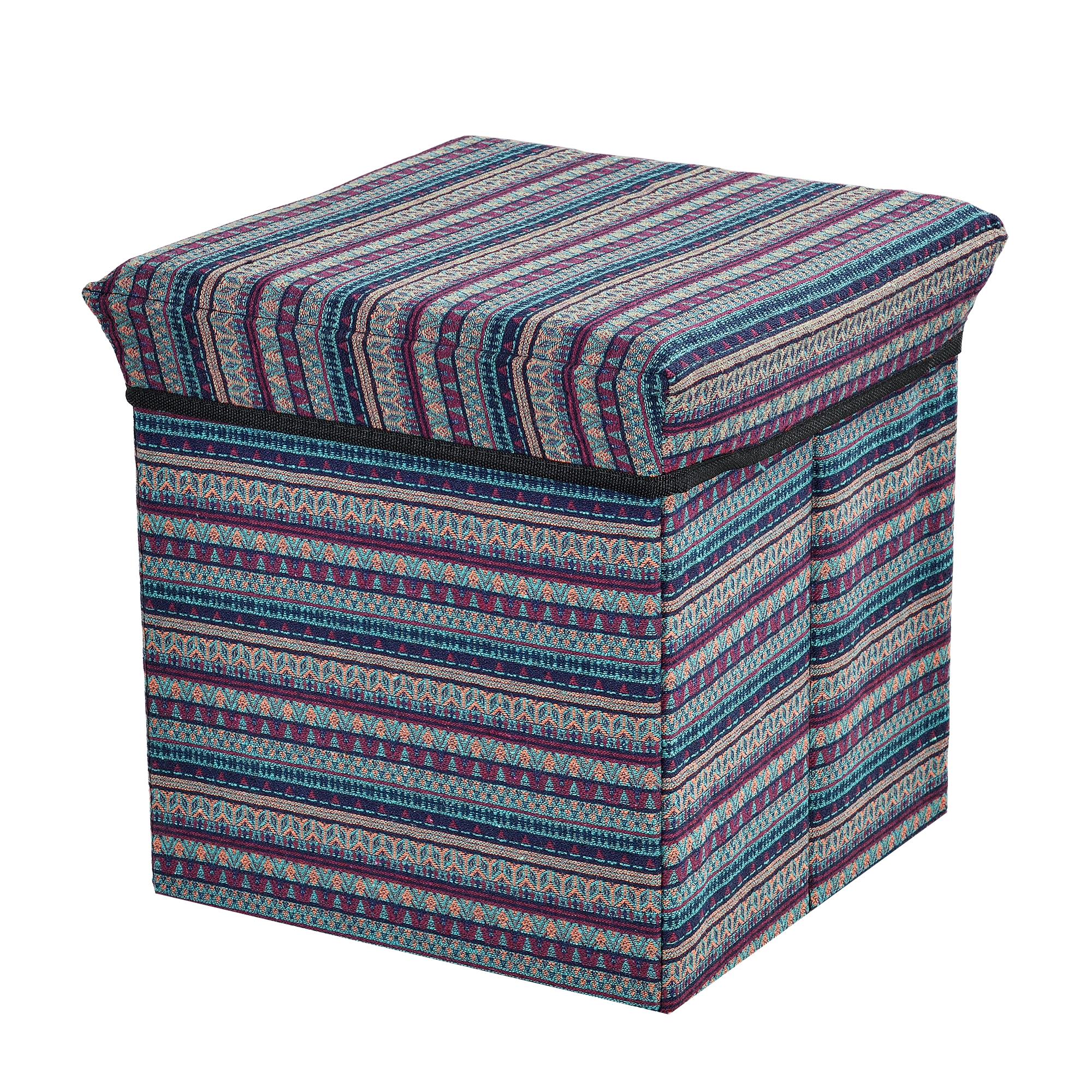 banc de rangement 30x30x30cm tricot porte pieds ebay. Black Bedroom Furniture Sets. Home Design Ideas