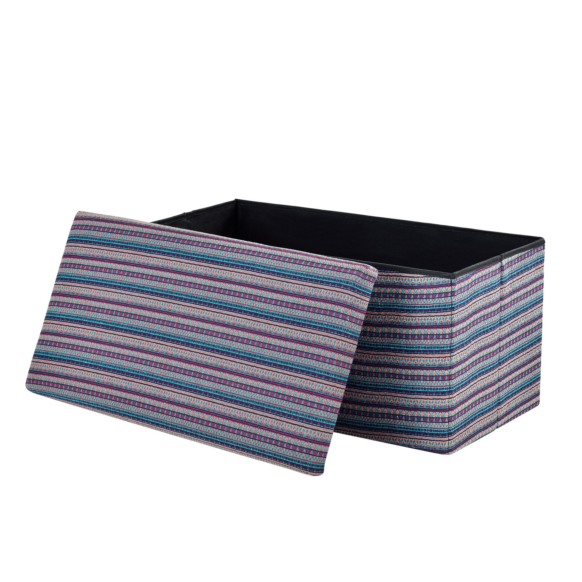 [en.casa]® Skládací taburet - textil - vzor 1 - 76 x 38 x 38 cm