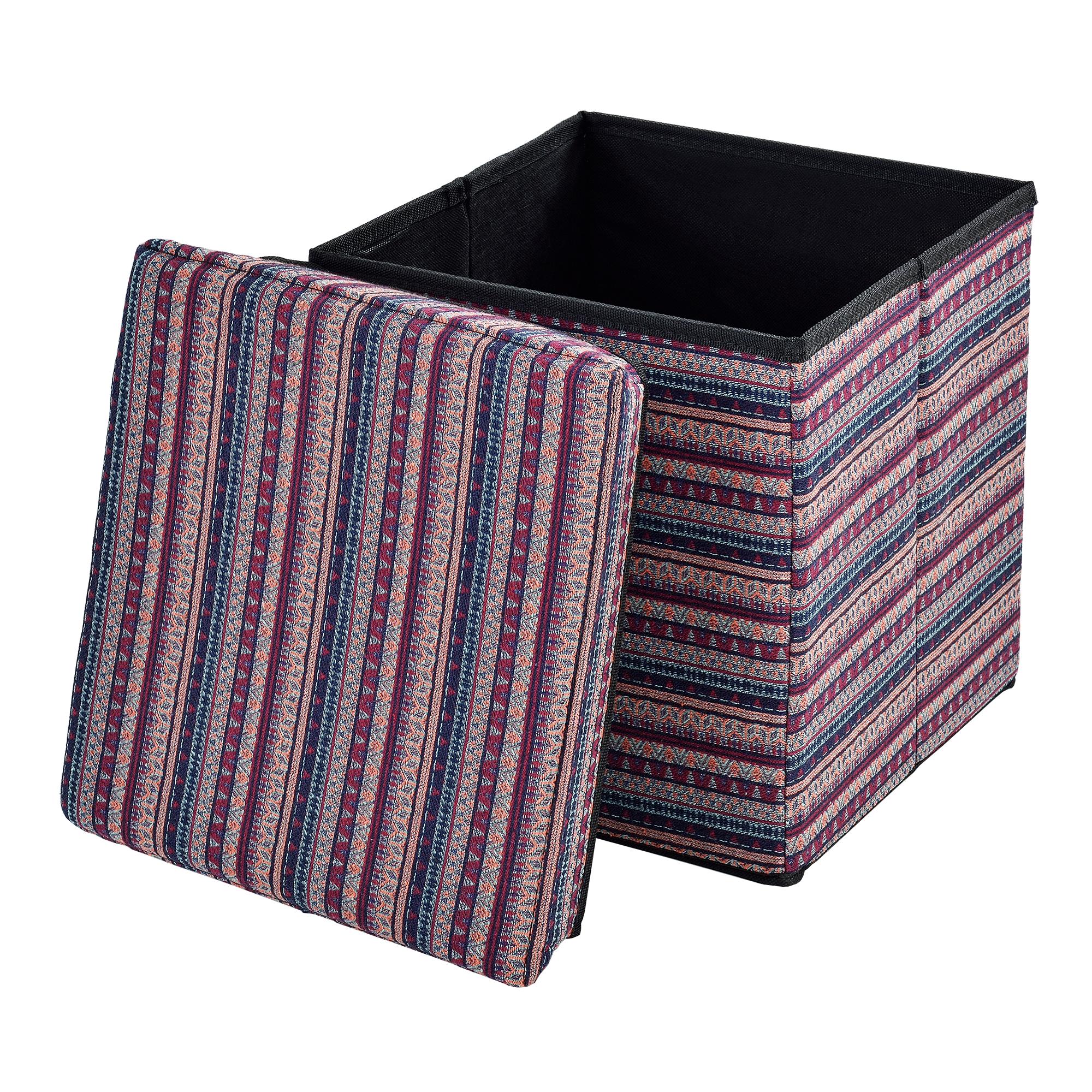 [en.casa]® Skládací taburet - textil - vzor 2 - 38 x 38 x 38 cm