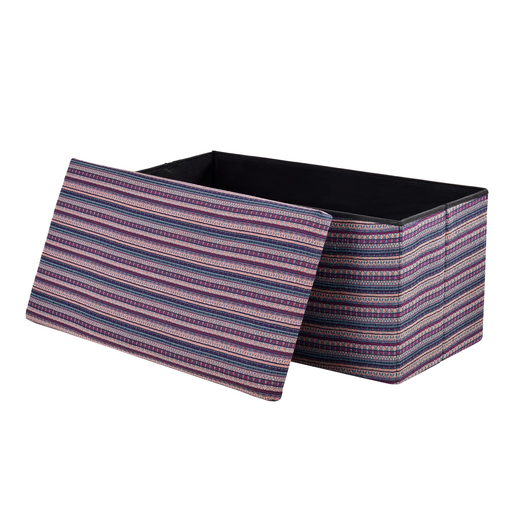 [en.casa]® Skládací taburet - textil - vzor 2 - 76 x 38 x 38 cm