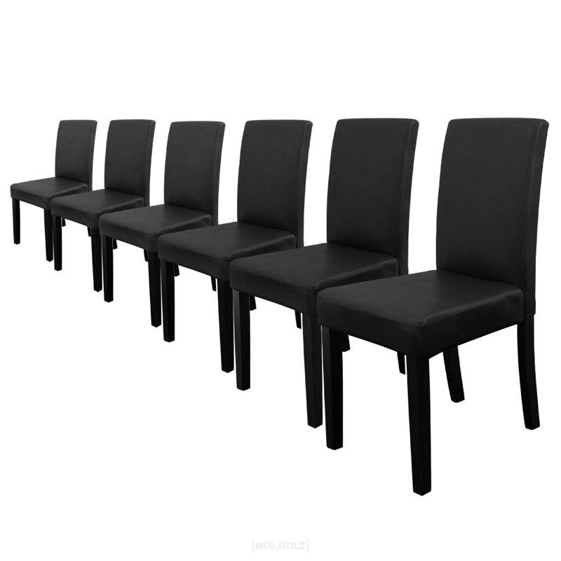 Lederstühle Schwarz Esszimmer 6x en casa stühle hochlehner esszimmer stühle schwarz kunst leder