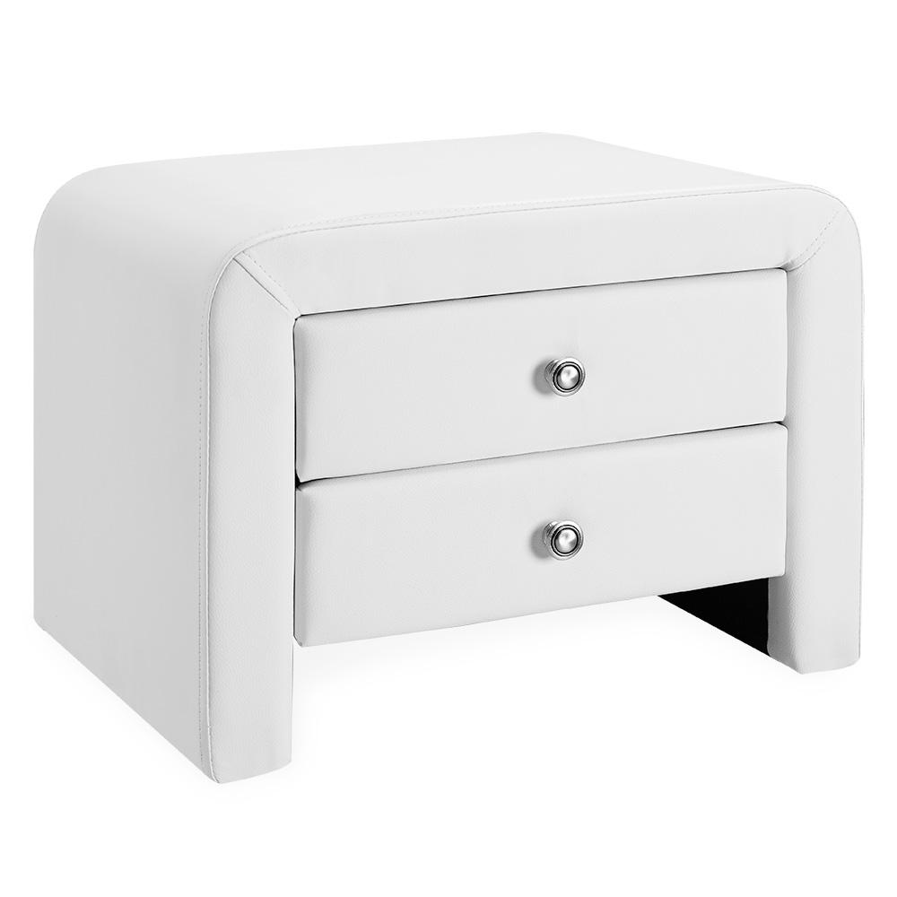 Corium® Noptiera eleganta din imitatie de piele cu 2 sertare – 50x38x37cm -alb