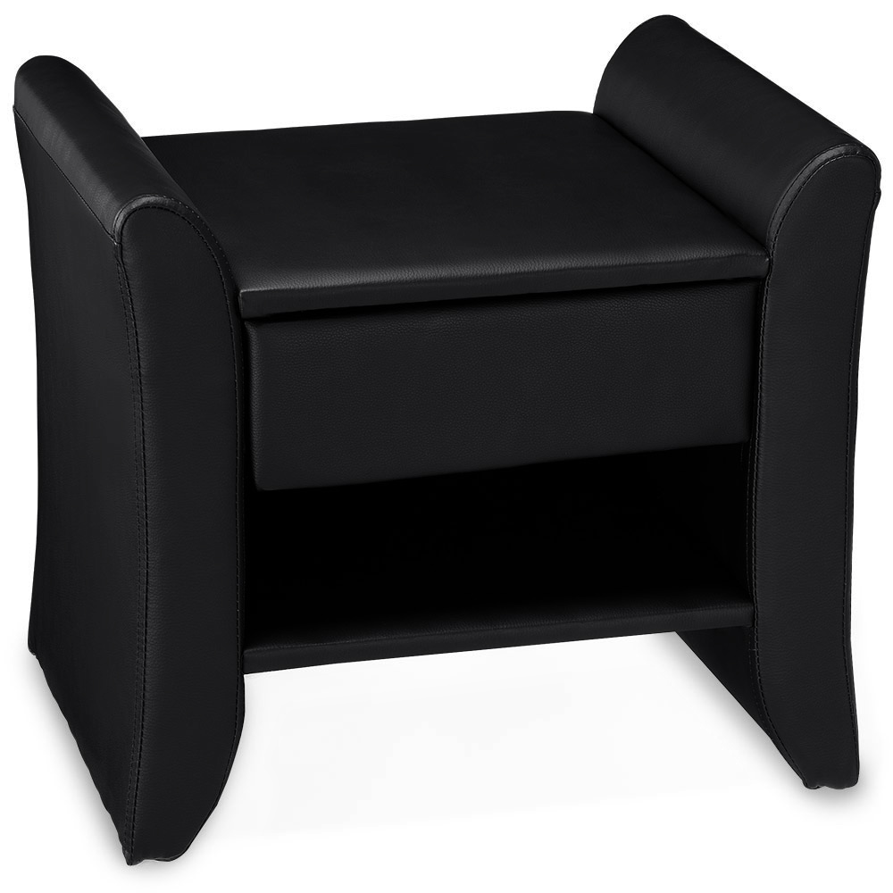 Corium® Noptiera eleganta din imitatie de piele – 47x37x44cm – negru