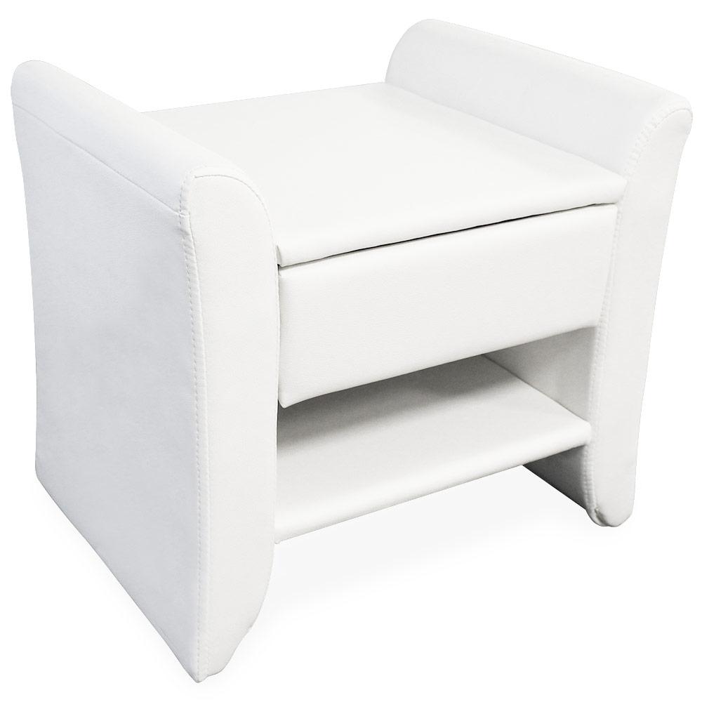 Corium® Noptiera eleganta din imitatie de piele – 47x37x44cm –  alb