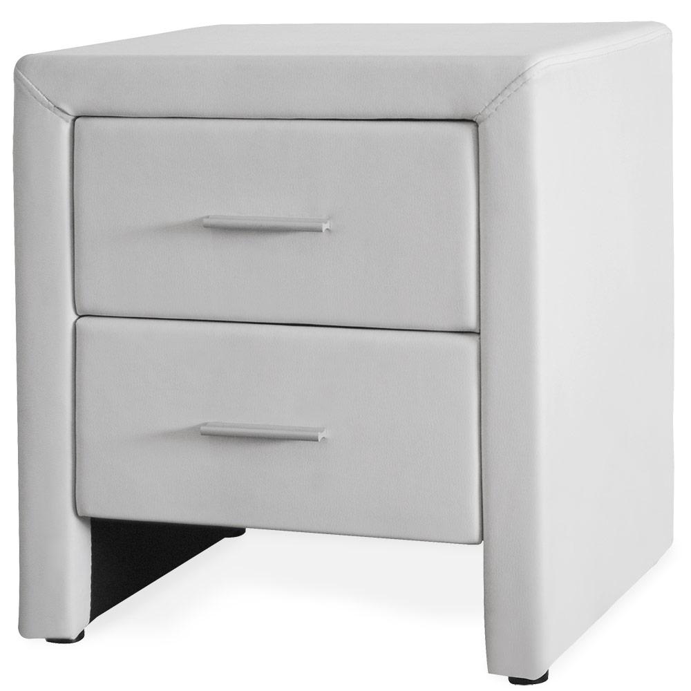 Corium® Noptiera eleganta din imitatie de piele cu 2 sertare – 48x42x55cm – alb