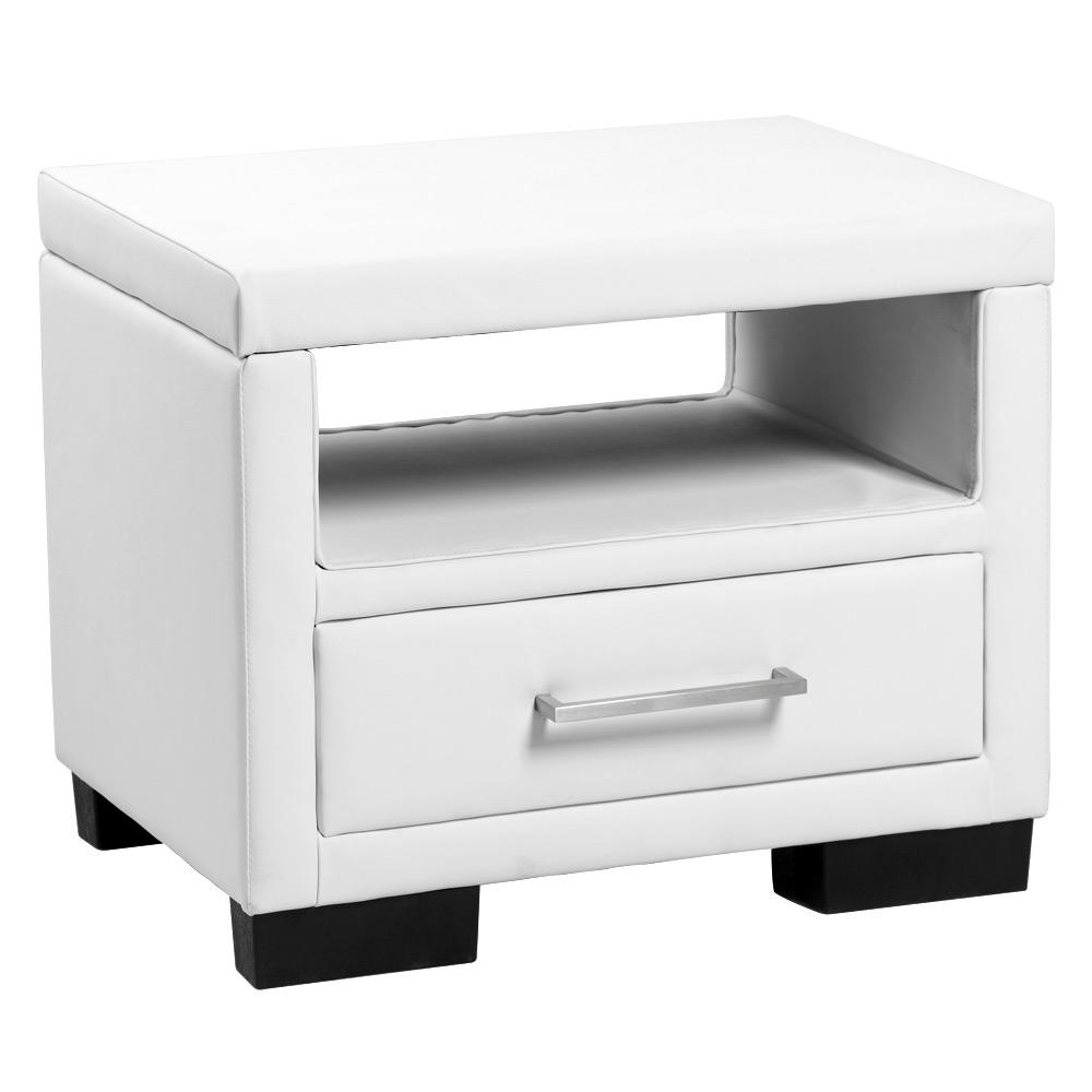 NEUHOLZ Nachttisch mit Schublade Weiß Kunstleder