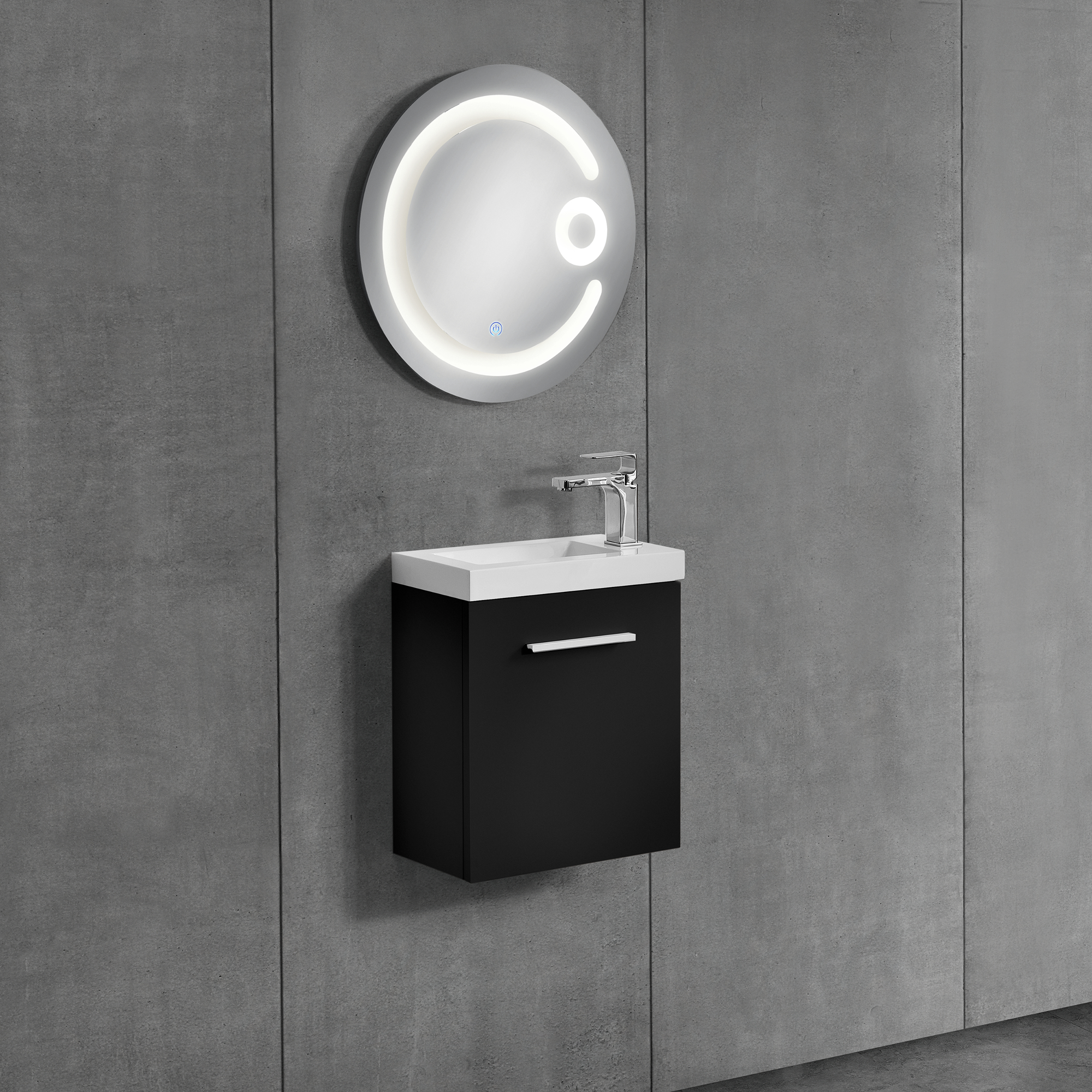 neuhaus armoire de salle bain miroir meuble dessous lavabo noir ebay. Black Bedroom Furniture Sets. Home Design Ideas