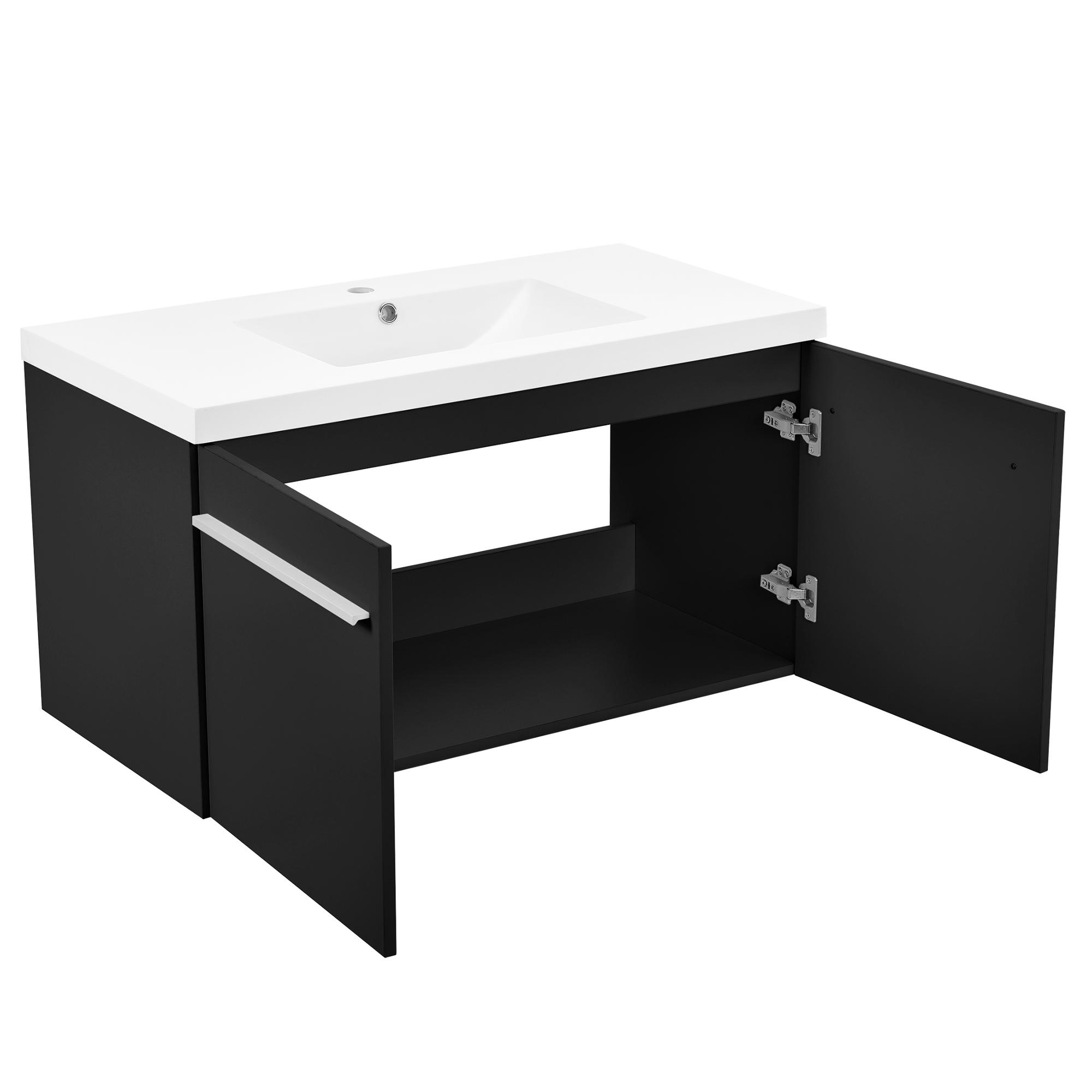 Neuhaus armoire de salle bain meuble dessous lavabo noir for Armoire salle de bain noir
