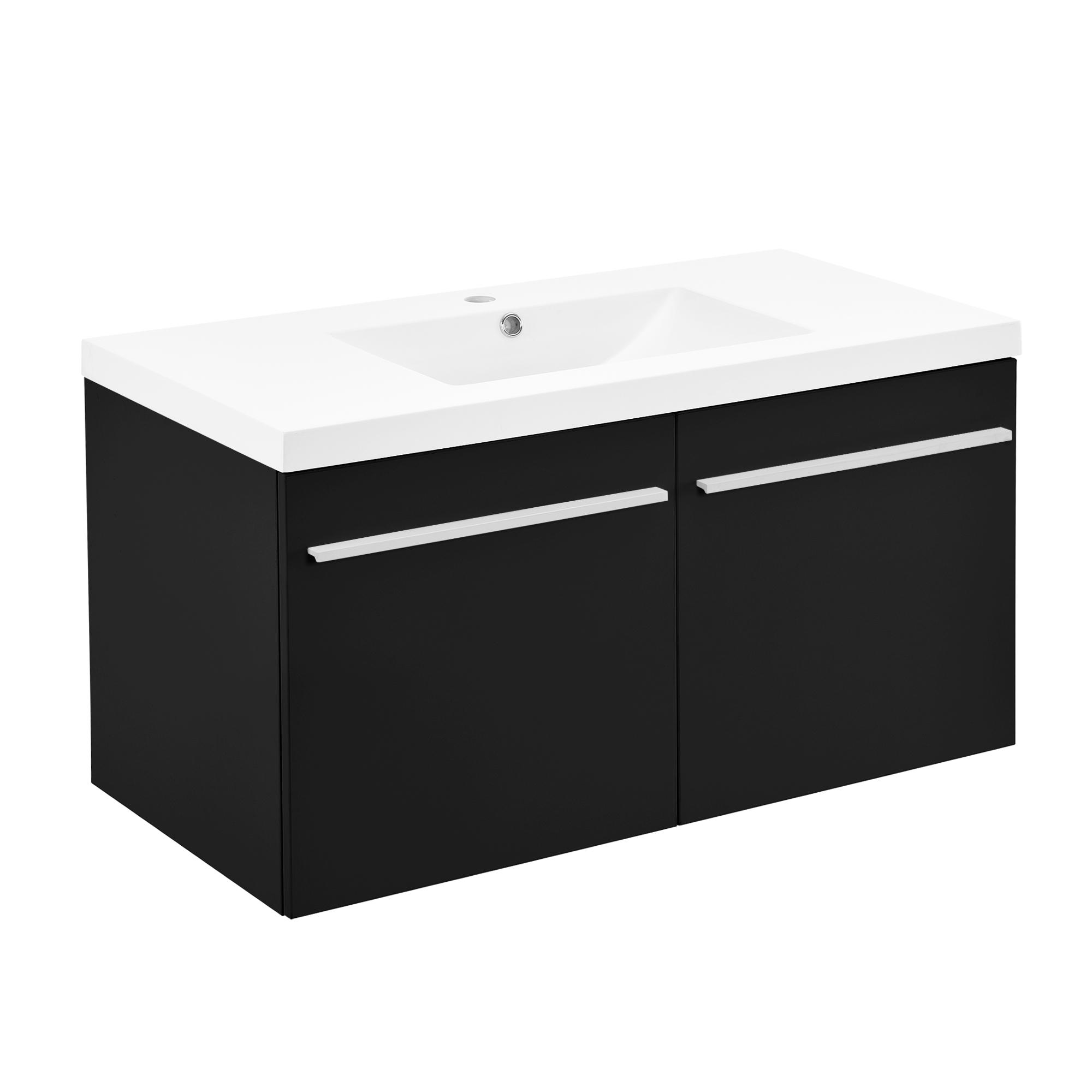 Neuhaus armoire de salle bain meuble dessous lavabo noir for Meuble lavabo noir