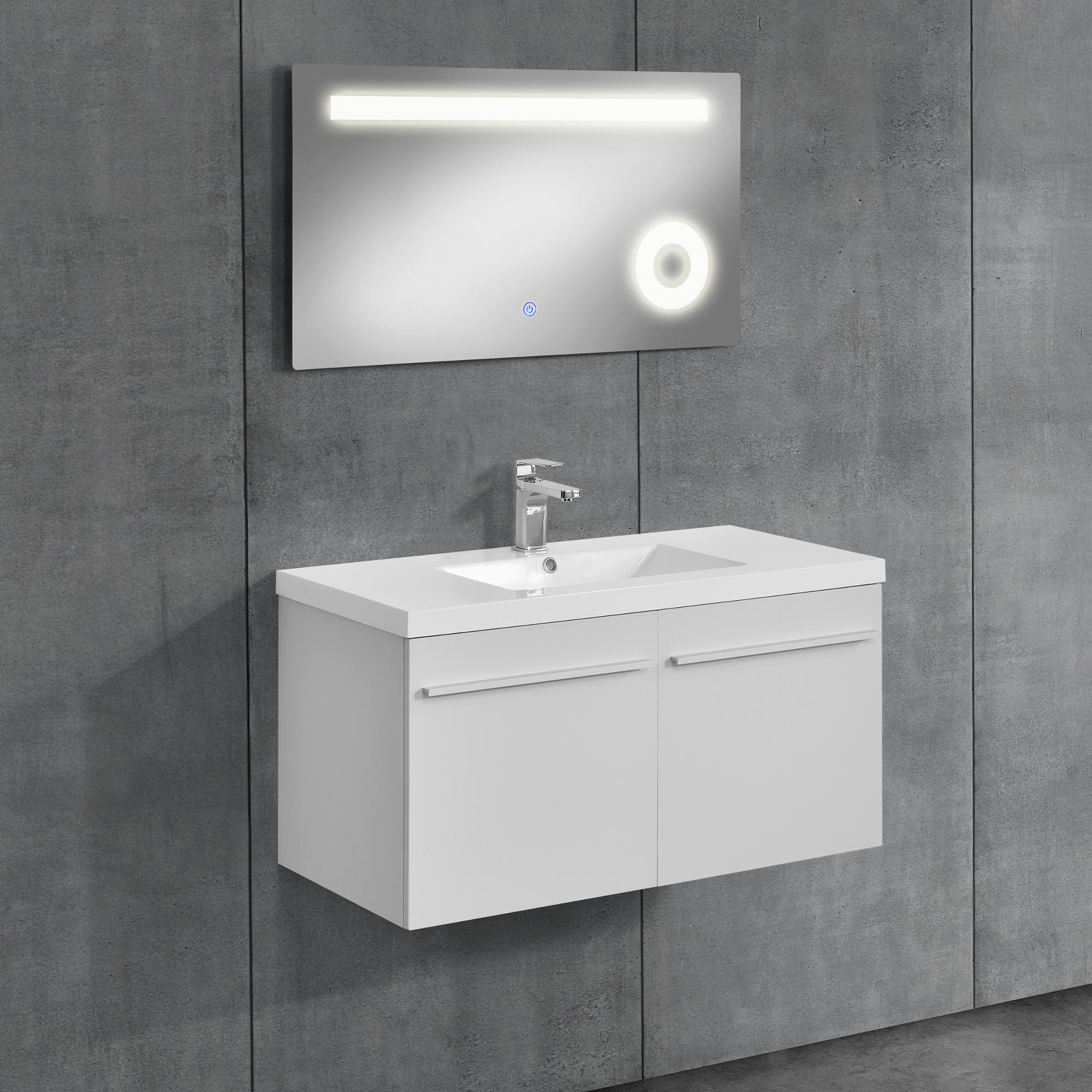 Badezimmerschrank unterschrank waschtisch badm bel wei 50x90x46cm ebay - Badezimmerschrank mit waschbecken ...