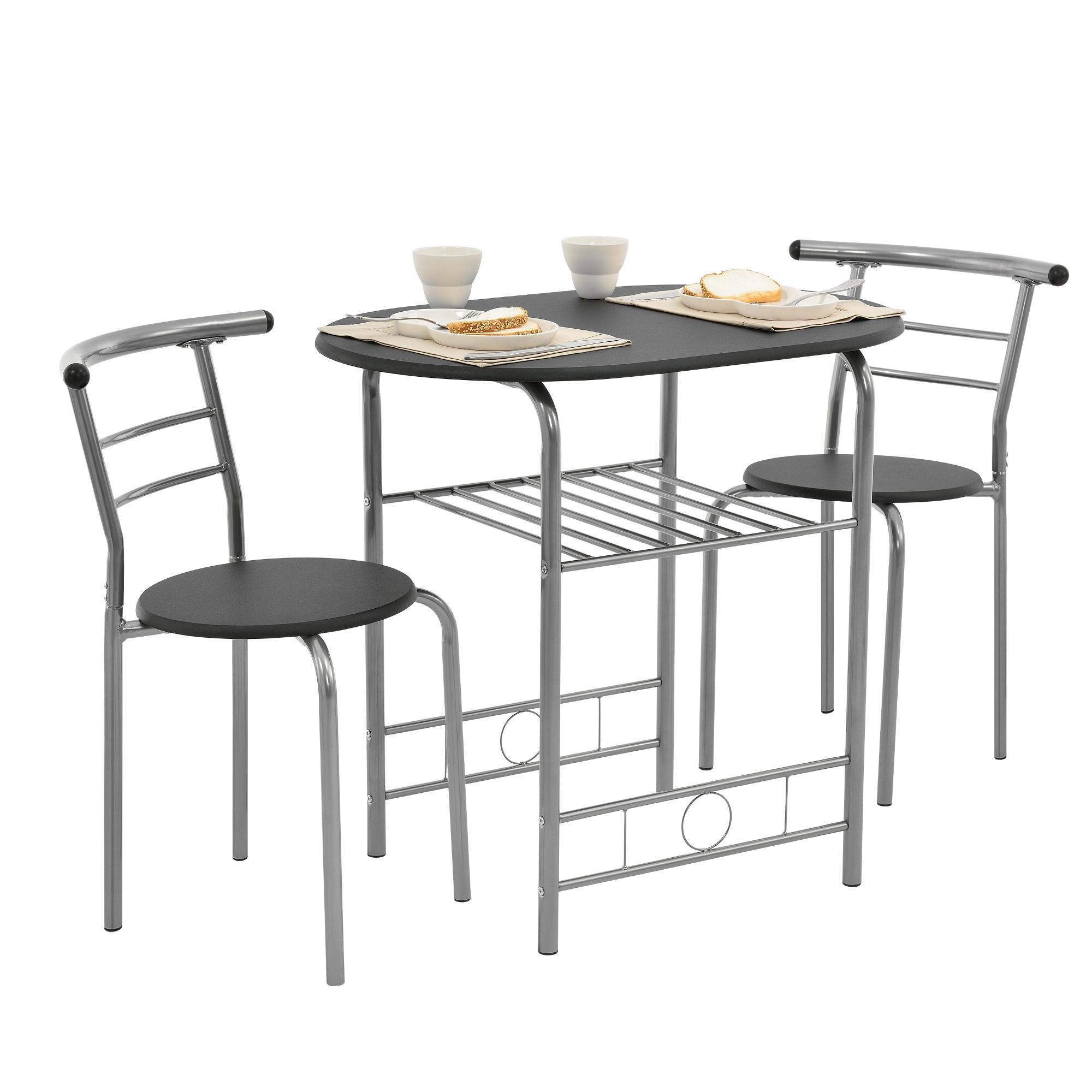 [ensa] Bistro Set Schwarz Grau Tisch Und Stuhlset