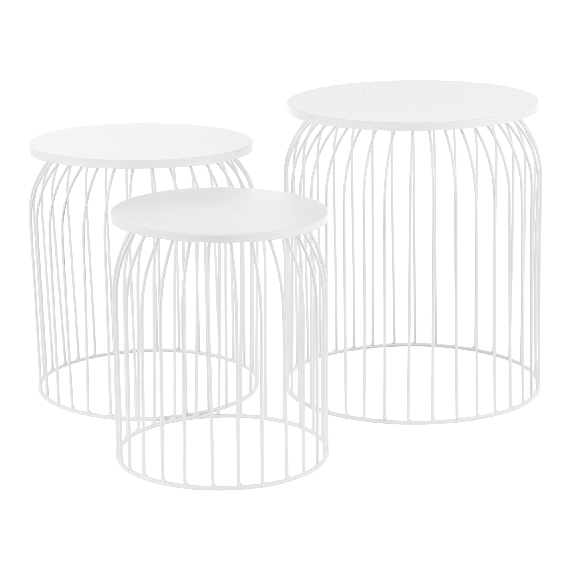 Metal Basket Side Table Coffee Table Sofa Table Set Of 3 Deco White Ebay