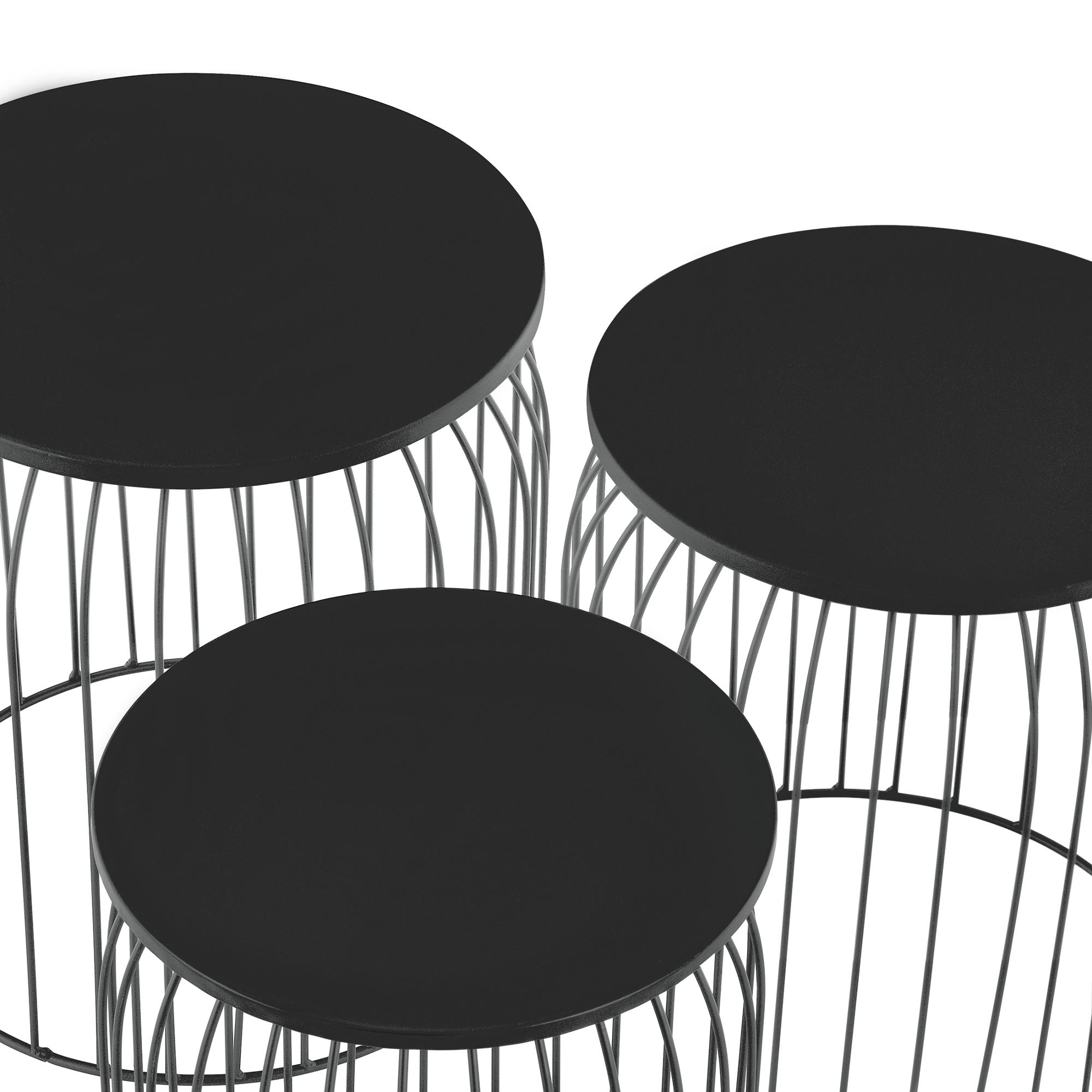 metallkorb beistelltisch couchtisch sofatisch 3er set deko dunkelgrau ebay. Black Bedroom Furniture Sets. Home Design Ideas