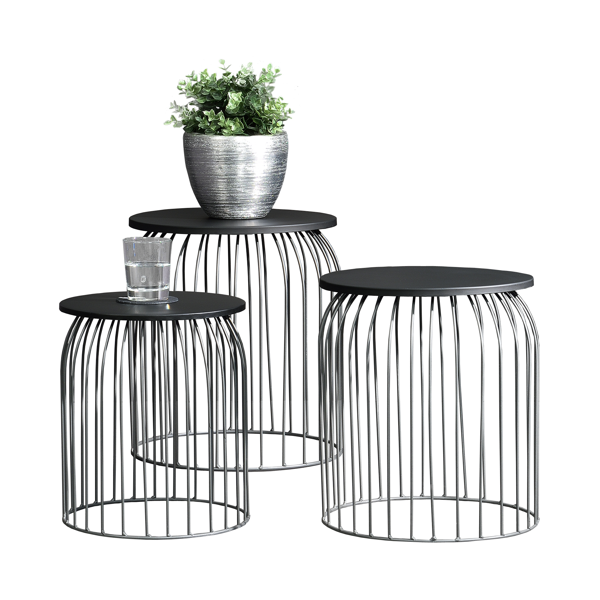 metallkorb beistelltisch couchtisch sofatisch 3er set deko dunkelgrau ebay. Black Bedroom Furniture Sets. Home Design Ideas