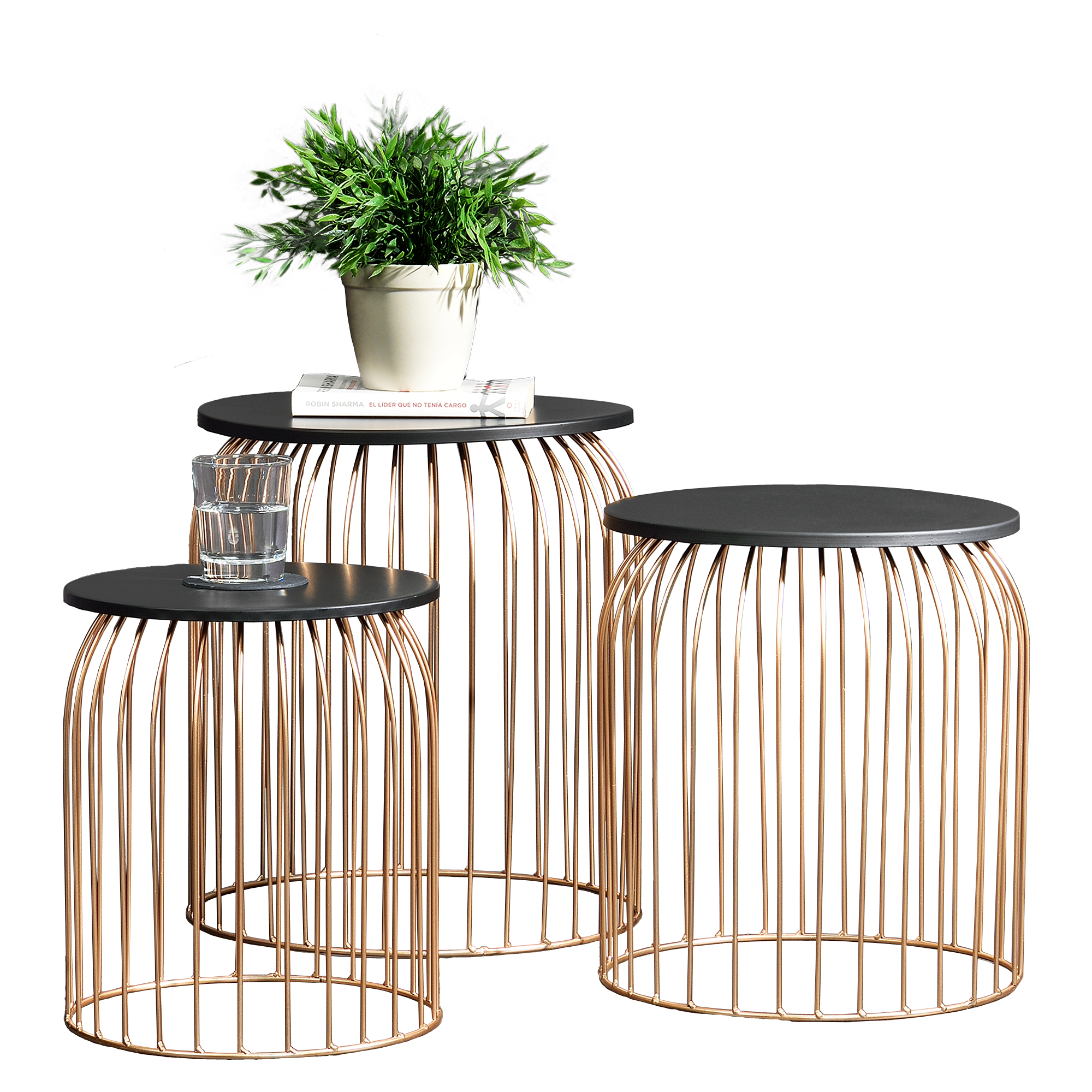 metallkorb beistelltisch couchtisch sofatisch 3er set deko kupfer ebay. Black Bedroom Furniture Sets. Home Design Ideas