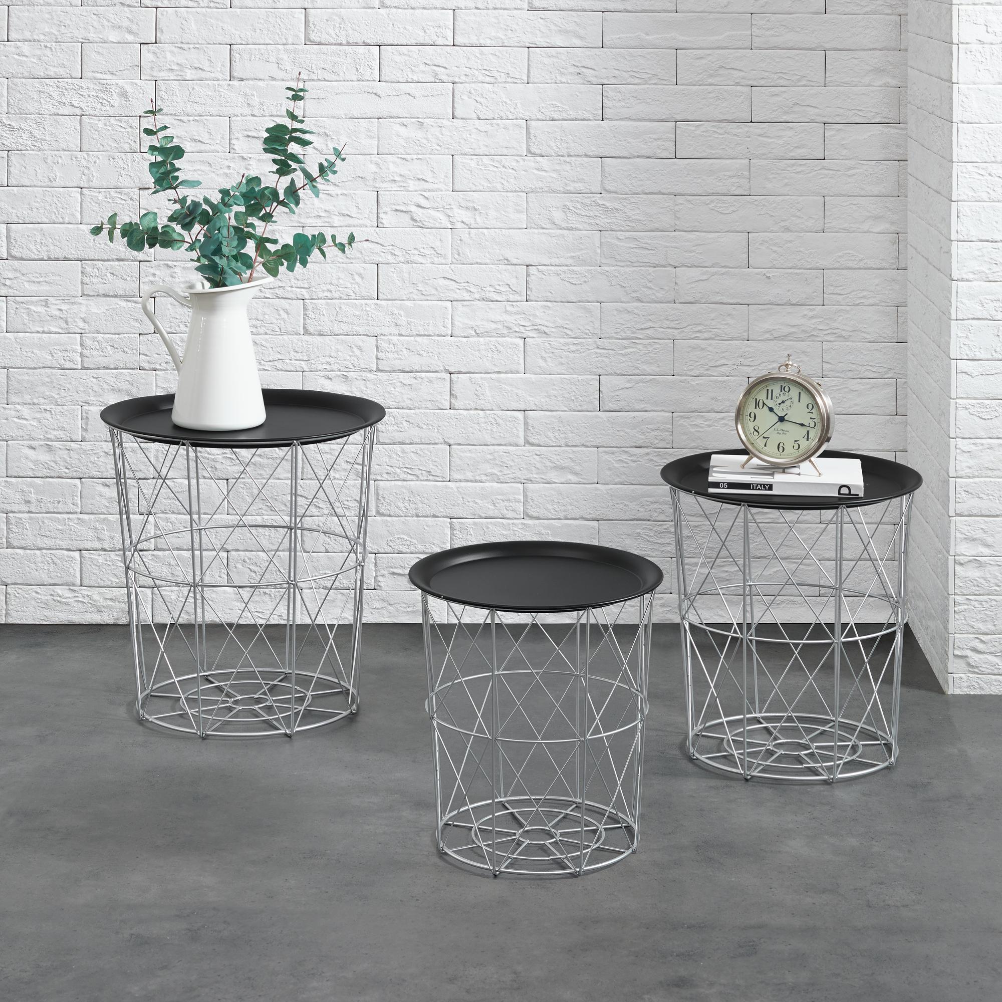metallkorb beistelltisch couchtisch sofatisch 3er set deko silber ebay. Black Bedroom Furniture Sets. Home Design Ideas