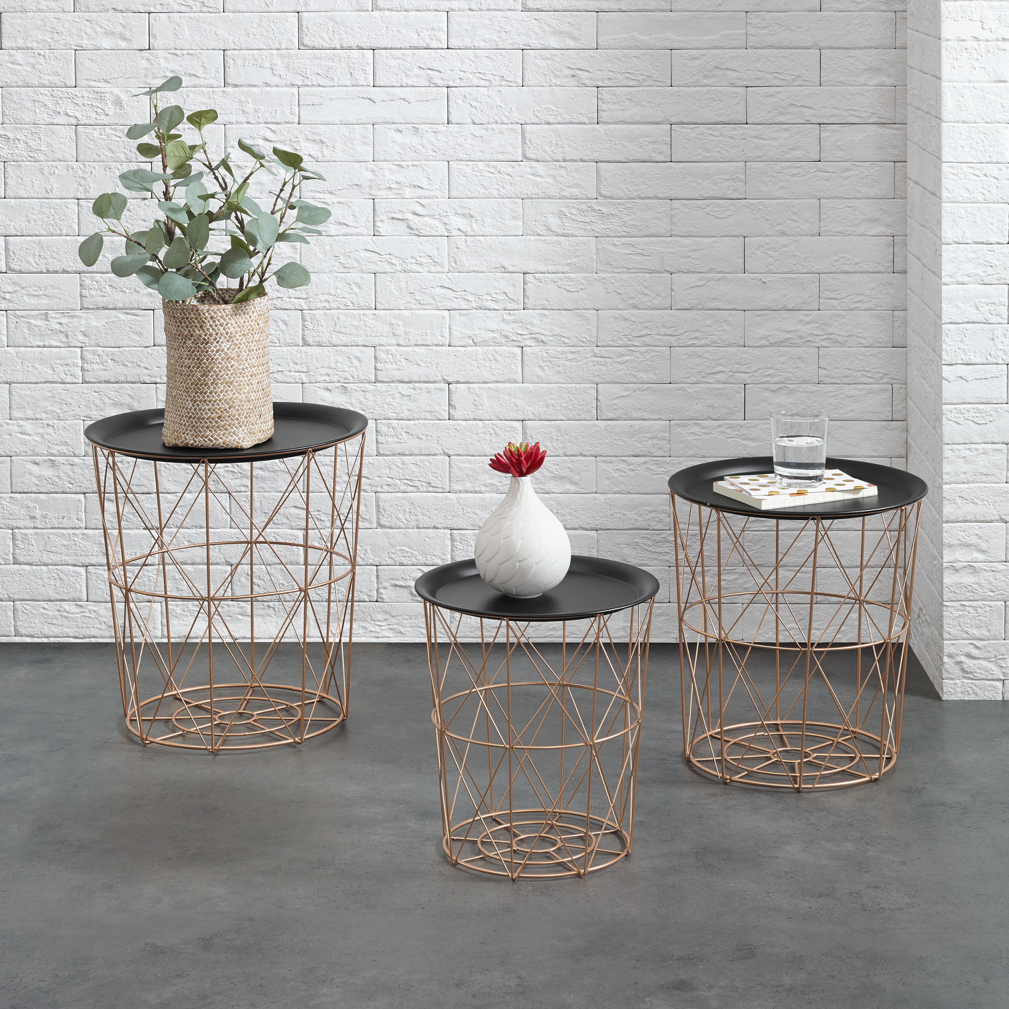 Metal basket side coffee couch table set of 3 for Sofatisch rund