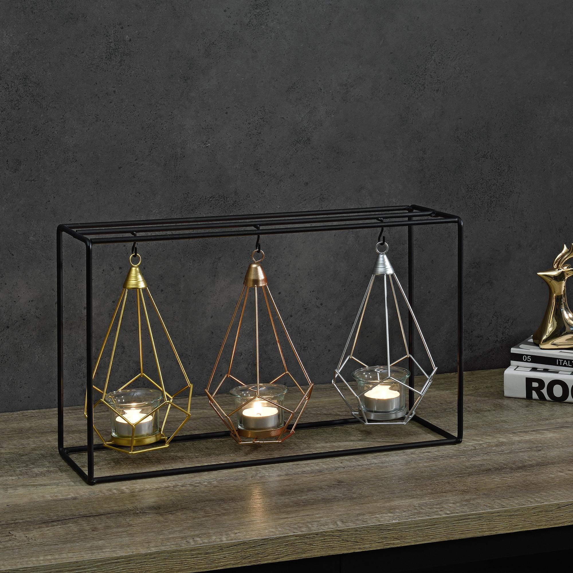 Deko kerzenst nder 3 fach teelichthalter for Metallgitter deko