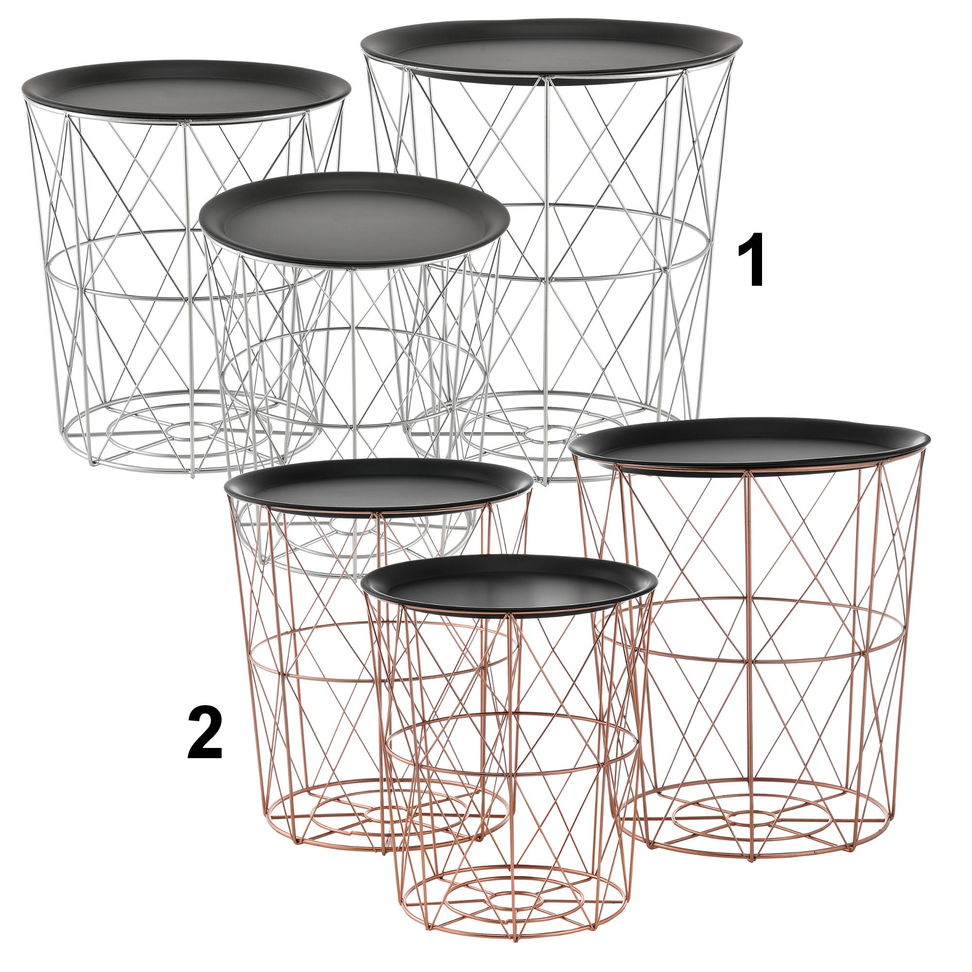 En casa metallkorb table d 39 appoint table basse for Beistelltisch set