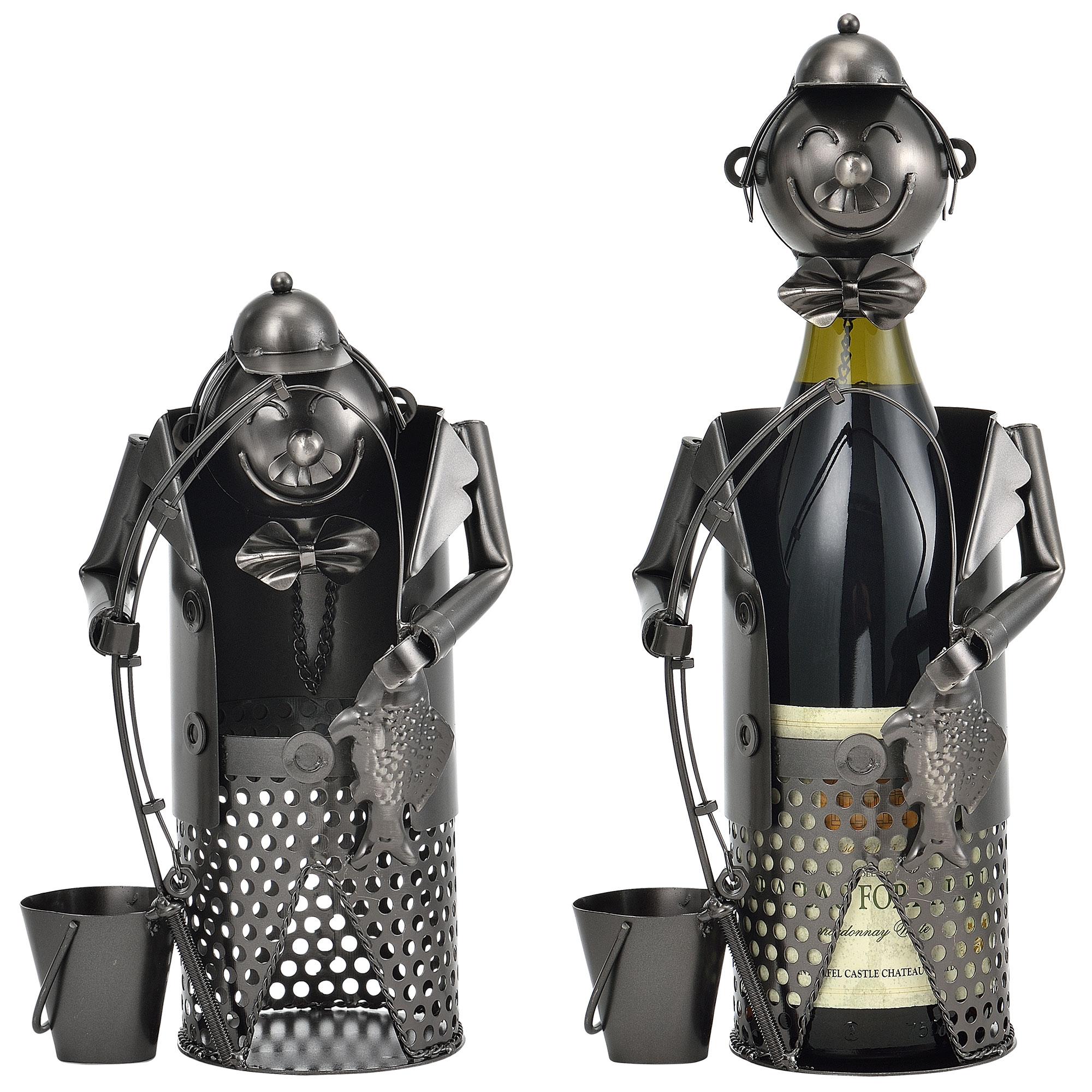 [en.casa]® Stojan na víno - rybář HTWH-6602