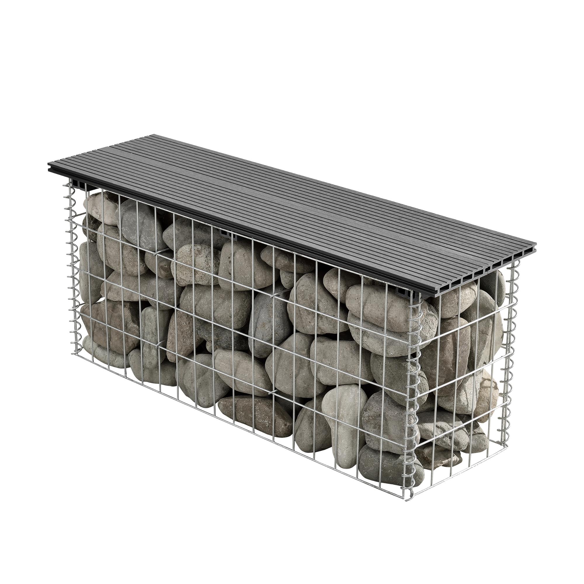 Wpc banc gabion 100x45x30cm gris gabion banc de for Banc jardin plastique gris