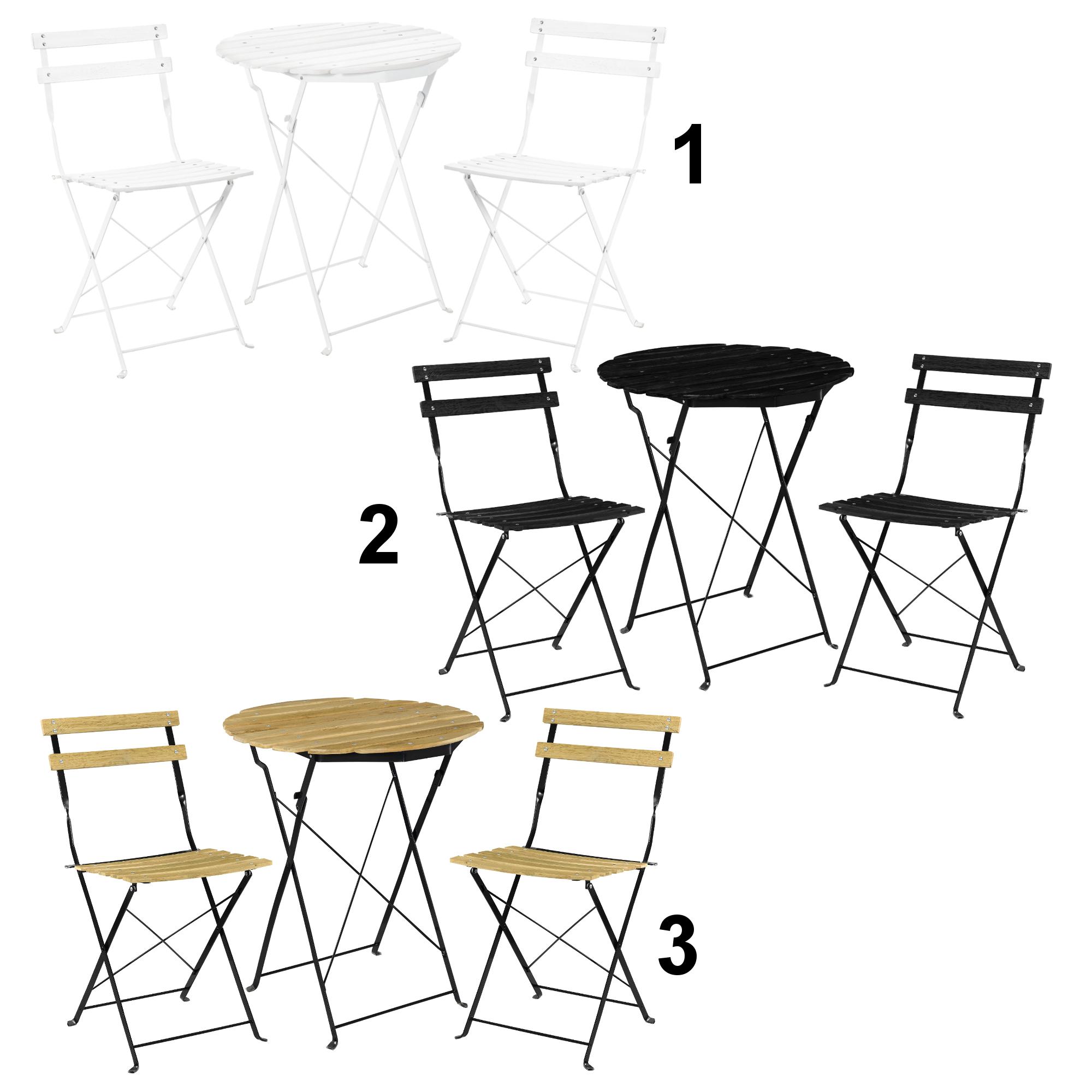 [casao] Bistro Set Tisch 2 Stühle Essgruppe Sitzgruppe