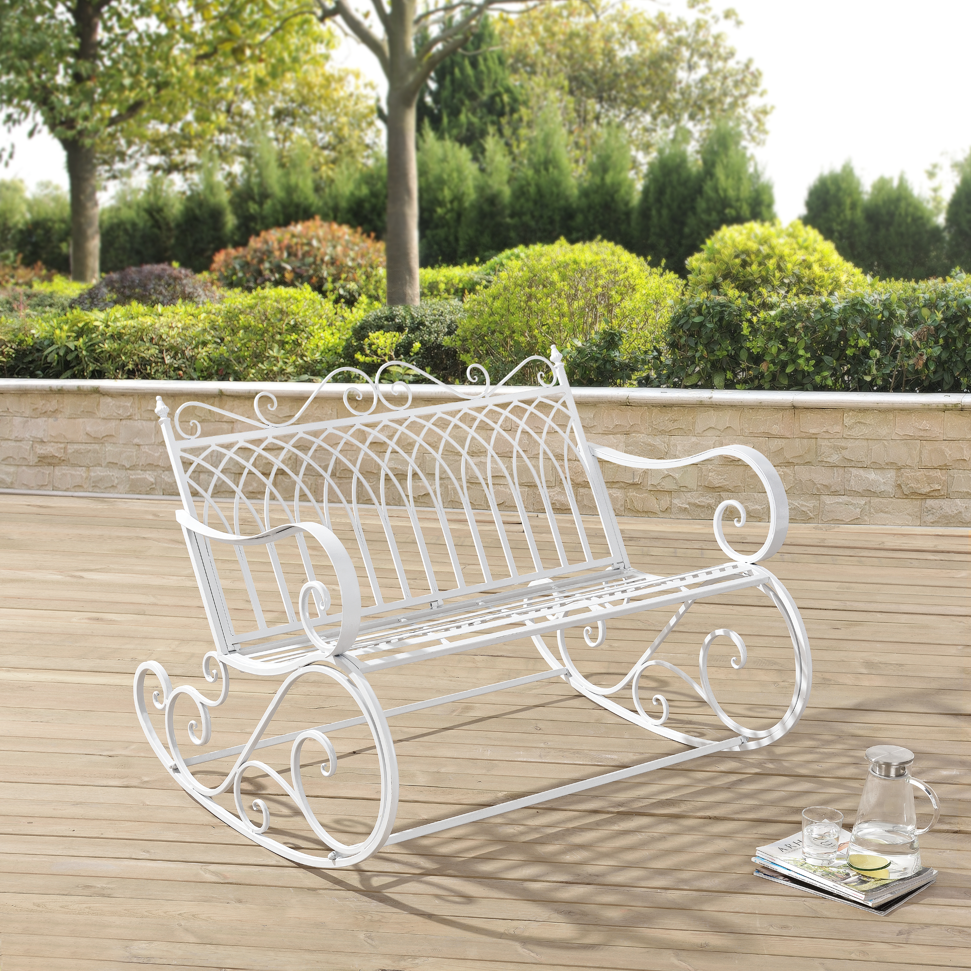 banc bascule banc jardin meuble jardin m tal balan oire blanc fer ebay. Black Bedroom Furniture Sets. Home Design Ideas