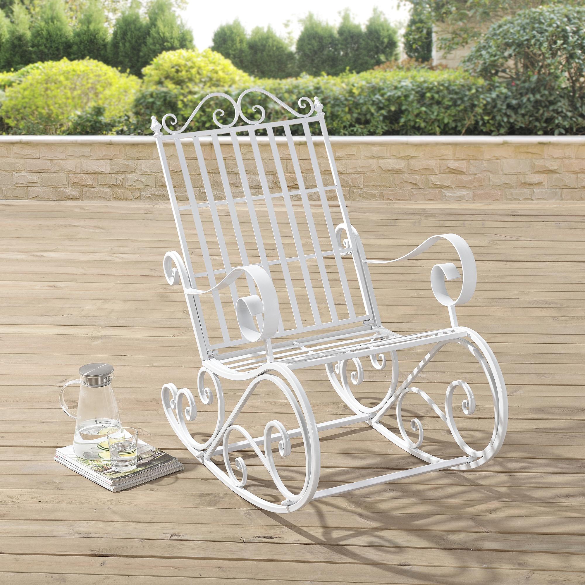 Sedia a dondolo ferro sedia da giardino metallo for Camastros de hierro para jardin