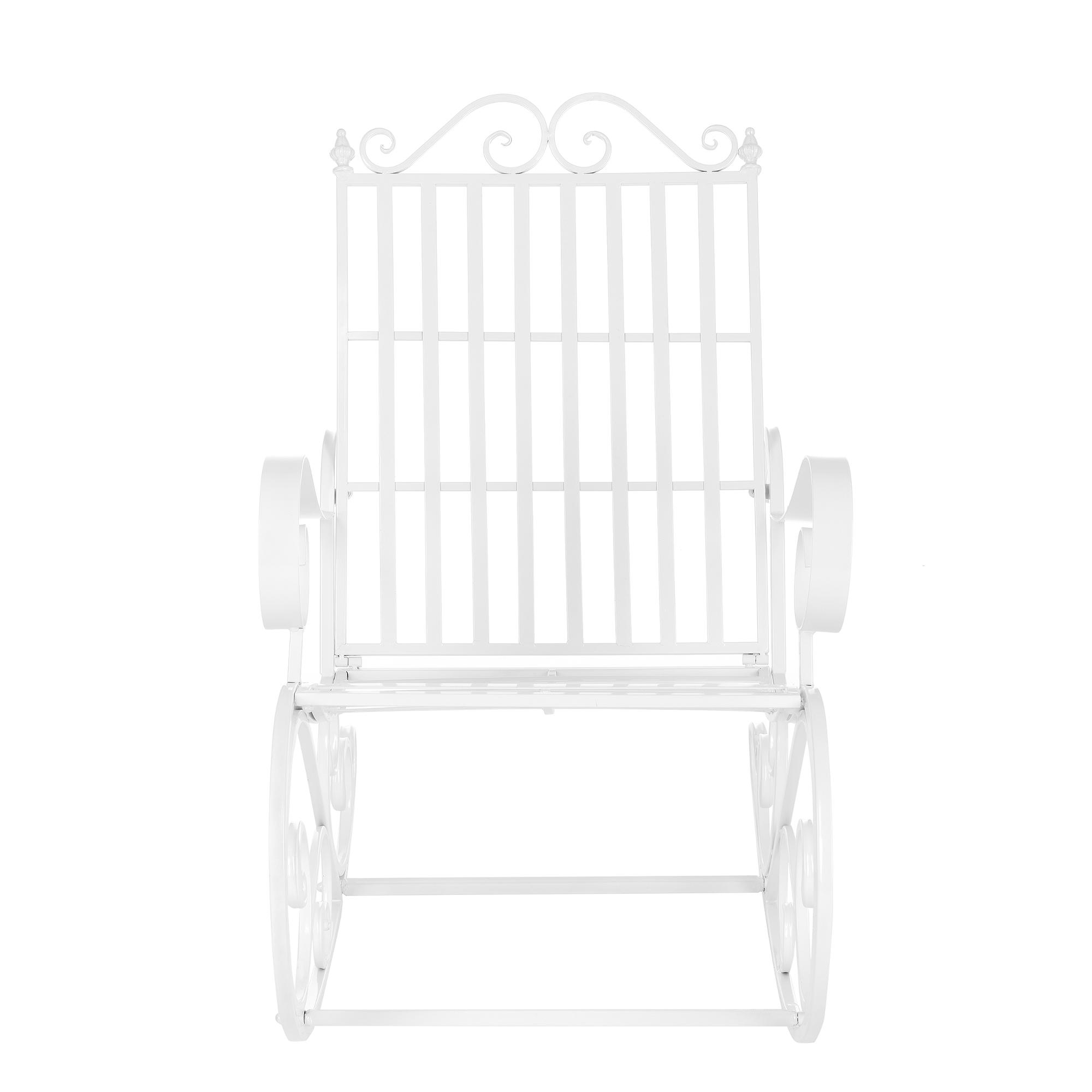 Sedia a dondolo ferro sedia da giardino metallo bianco antico dondolo ebay - Sedia a dondolo da giardino ...