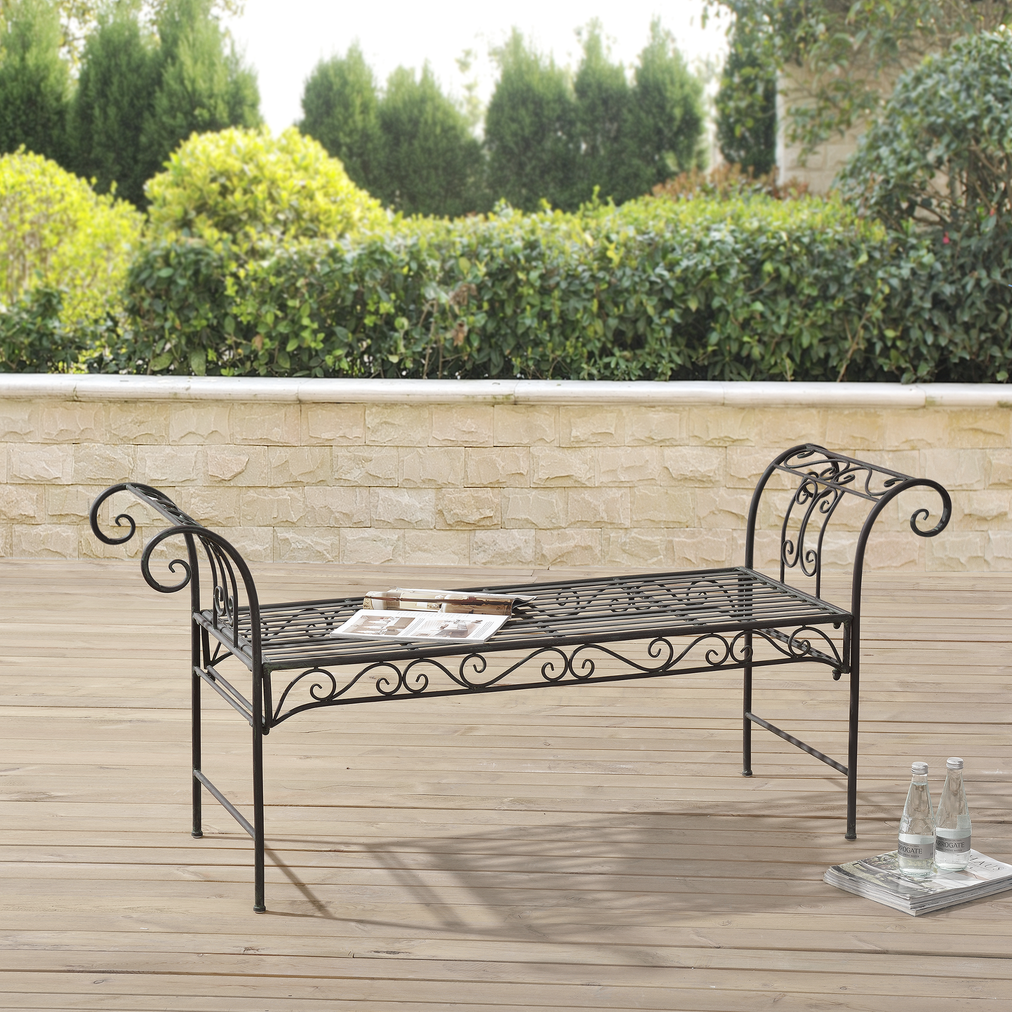 m tal banc de jardin banc banc de jardin si ge 70x147x46 cm fer vert ebay. Black Bedroom Furniture Sets. Home Design Ideas
