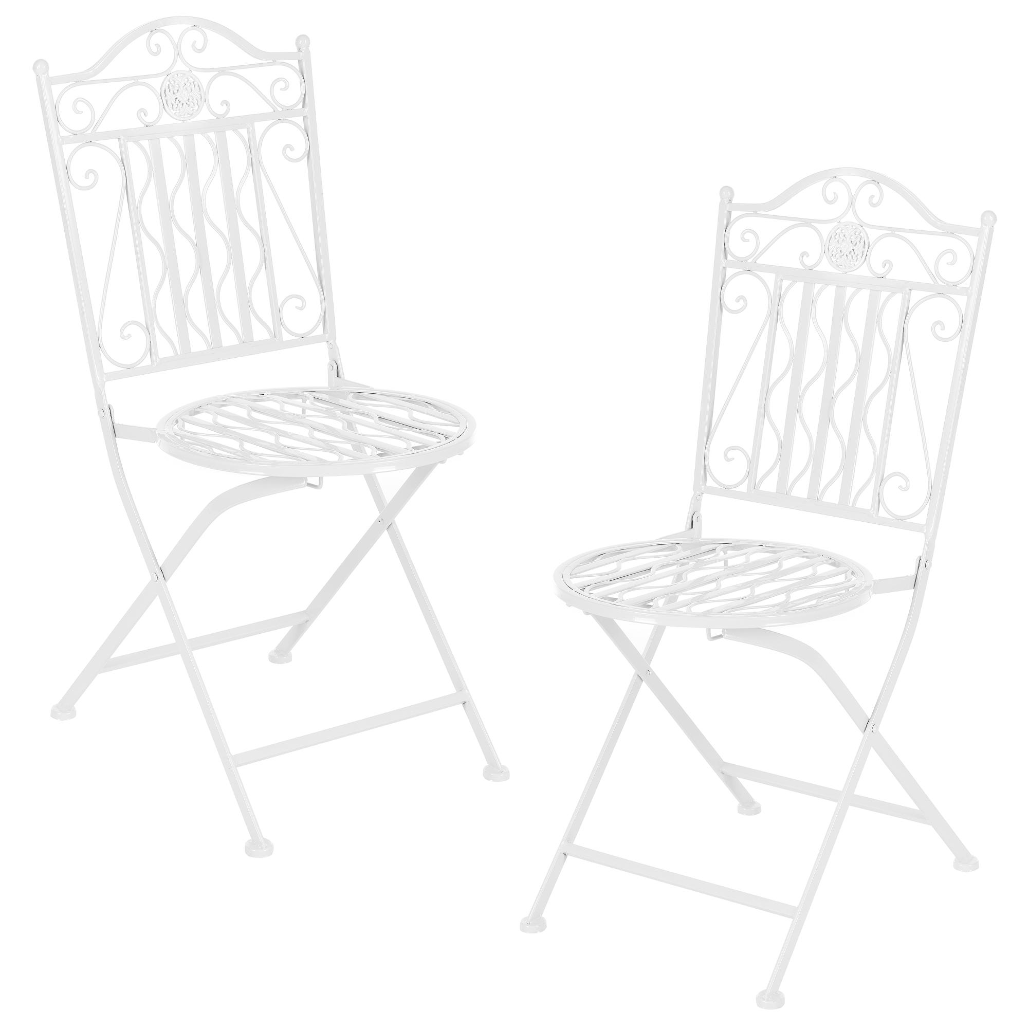 casa.pro] Kit Set de bistro table 2 chaises meuble de jardin métal ...