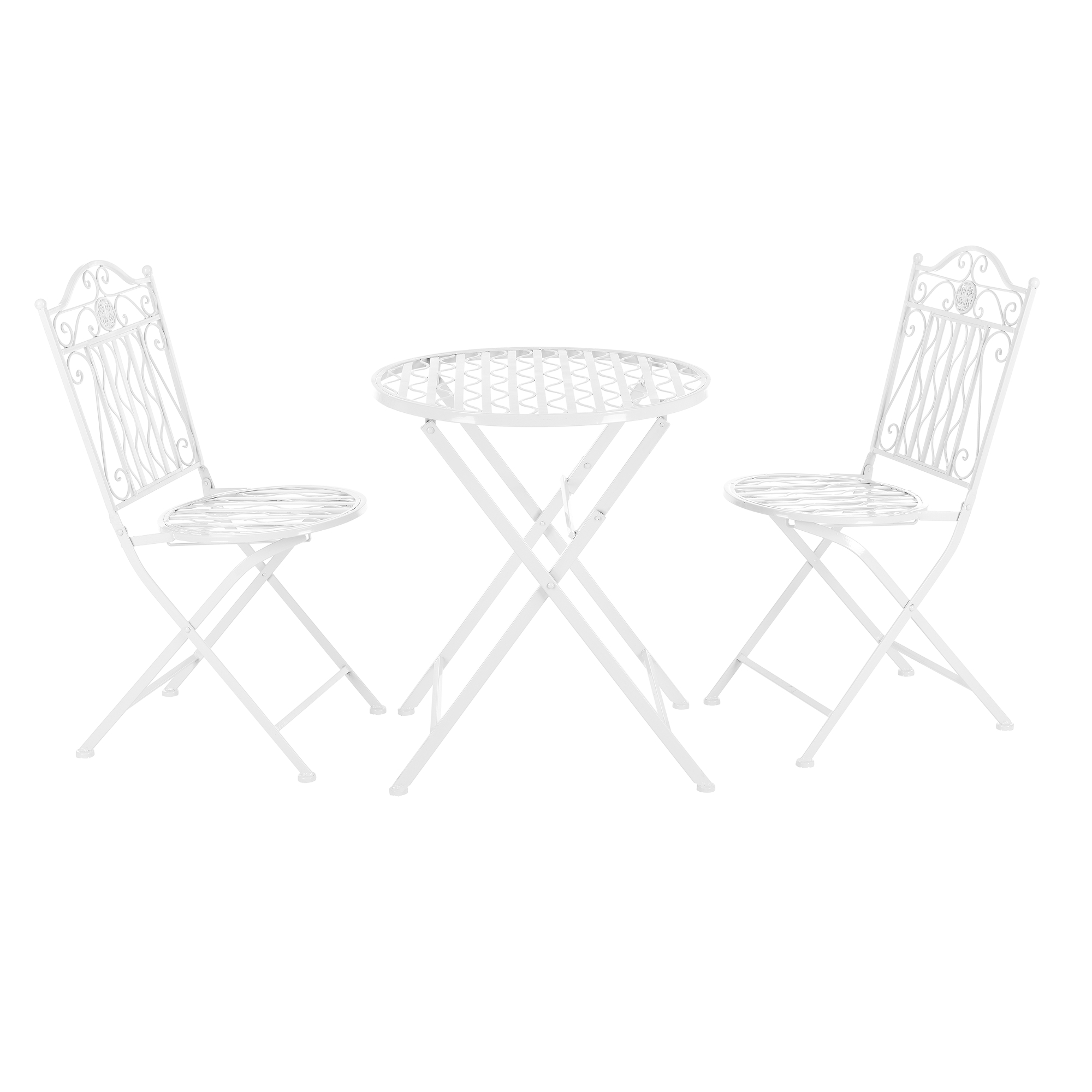 [casa.pro]® Bistro Set - kulatý stůl s 2 židlemi, 71 x 60 cm,89 x 65 x 40 cm,46 cm,bilá