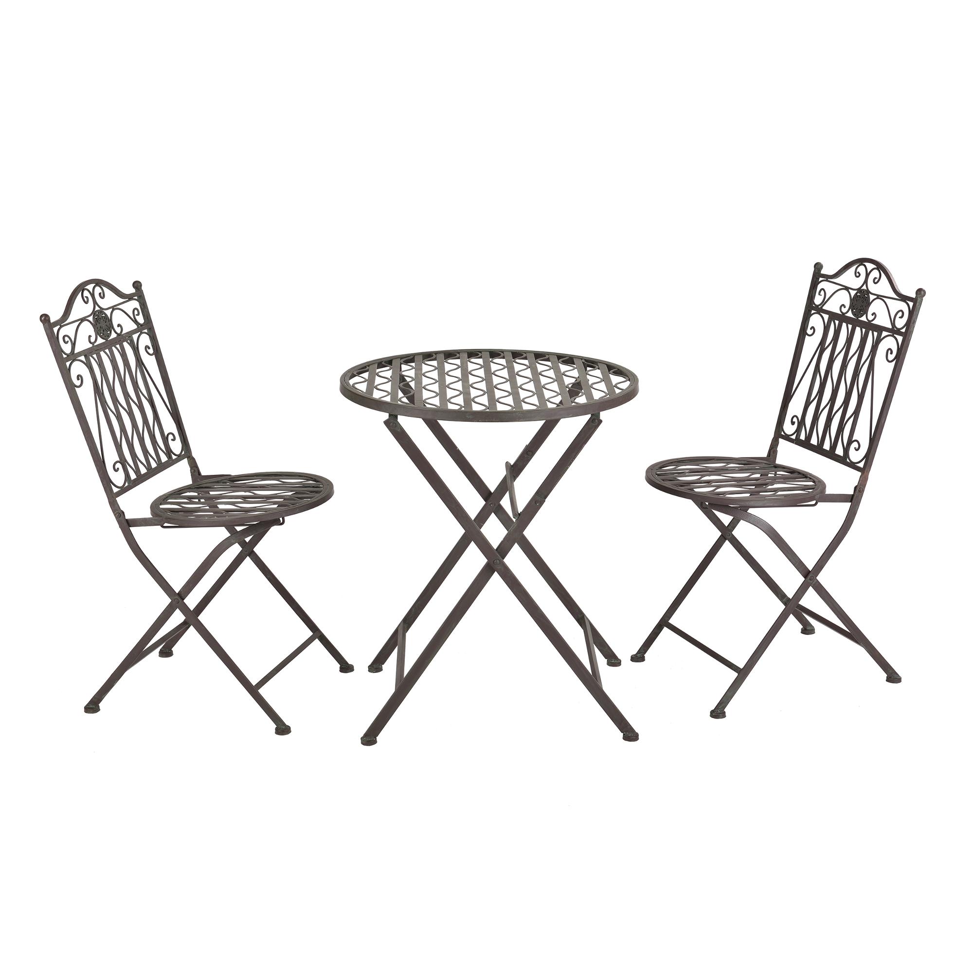 [casa.pro]® Bistro Set - kulatý stůl s 2 židlemi,89 x 65 x 40 cm,46 cm,zelená