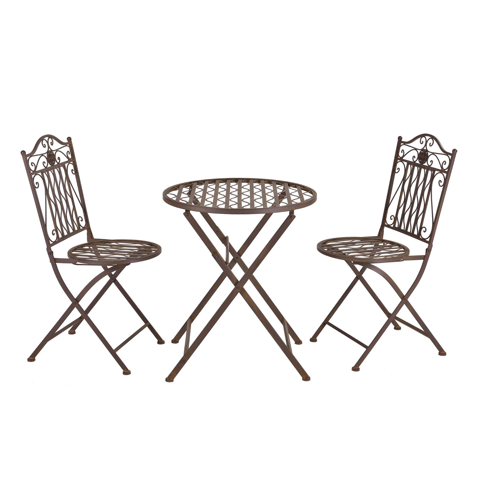 [casa.pro]® Bistro Set - kulatý stůl s 2 židlem,89 x 65 x 40 cm,46 cm,hnedá