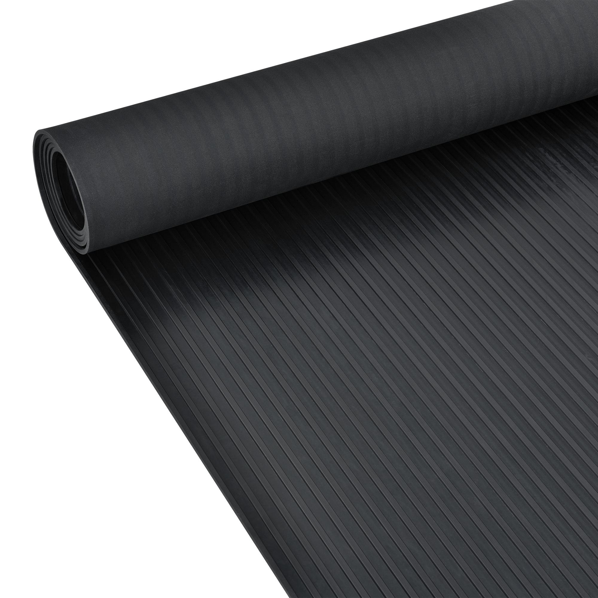 Détails sur [pro.tec]® Tapis de sol antidérapant en caoutchouc Motif Stries  fines Noir 5x1 m