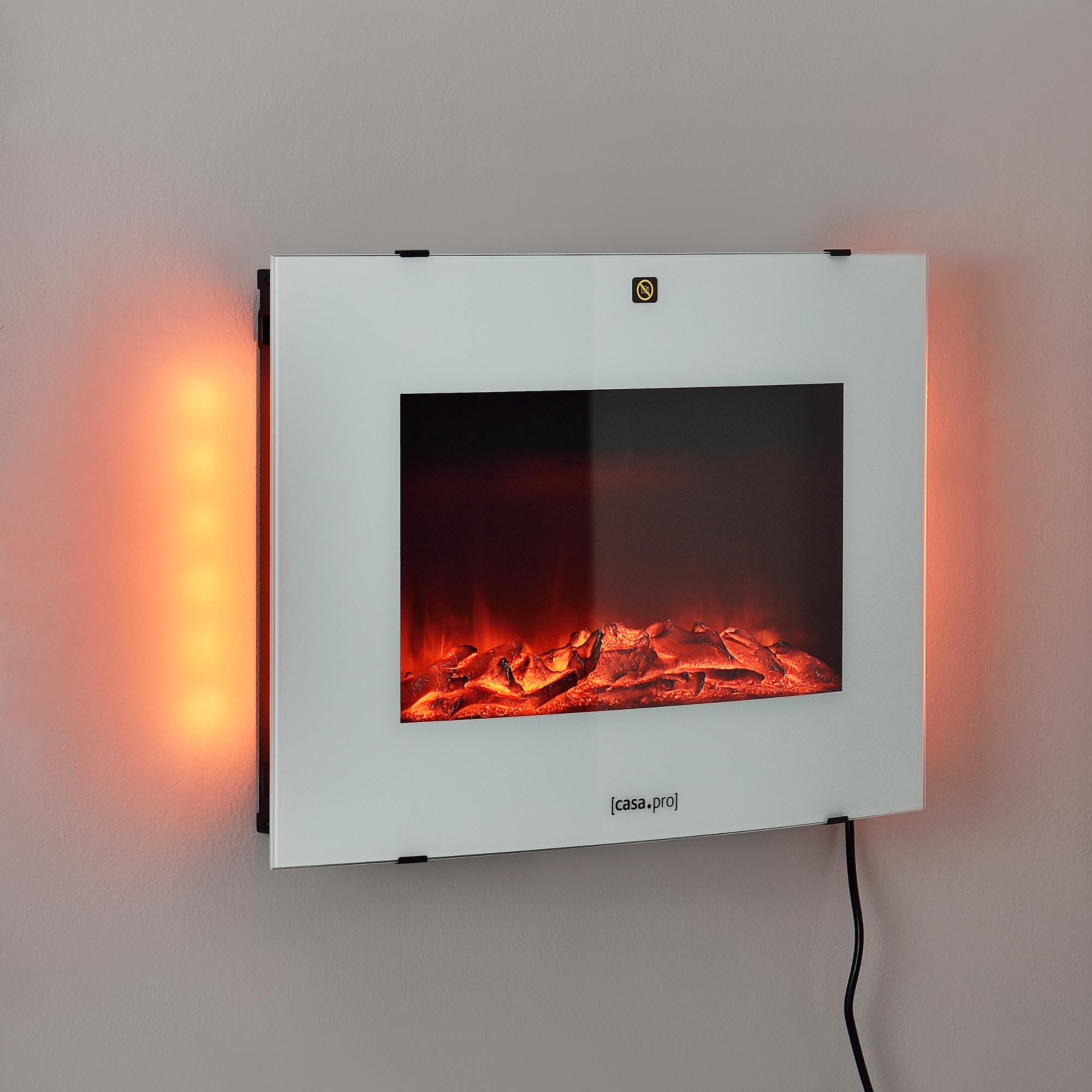 Vidrio Termostato programable Incorporado Negro Chimenea el/éctrica 65 x 13,5 x 46 cm Animaci/ón de Fuego Pl/ástico Metal casa.pro