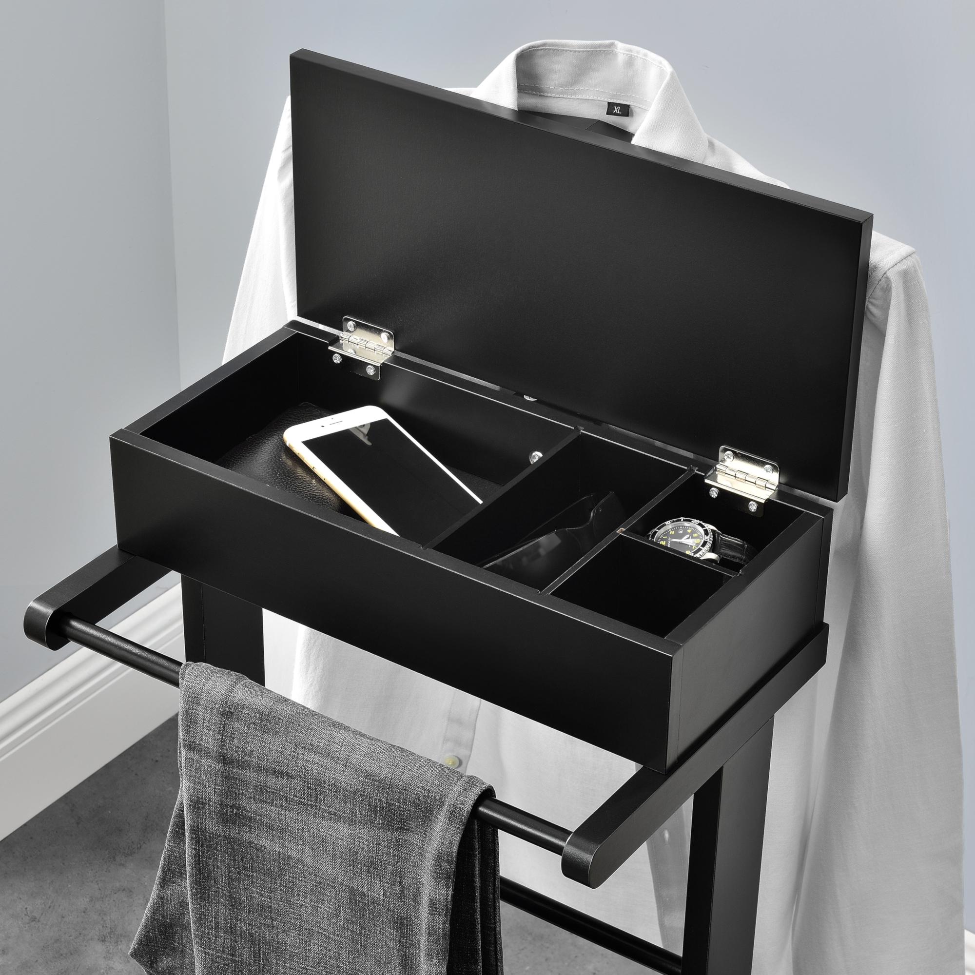 Détails sur en.casa Valet de Chambre avec Boîte Ouvrable 43,5x34,5x110 cm  MDF et Arole Noir