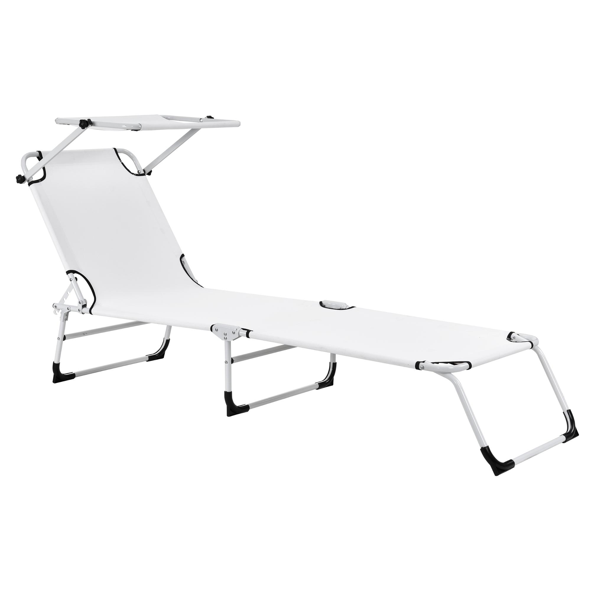 Chaise longue 190cm blanc avec toile chaise for Relax plage pliante