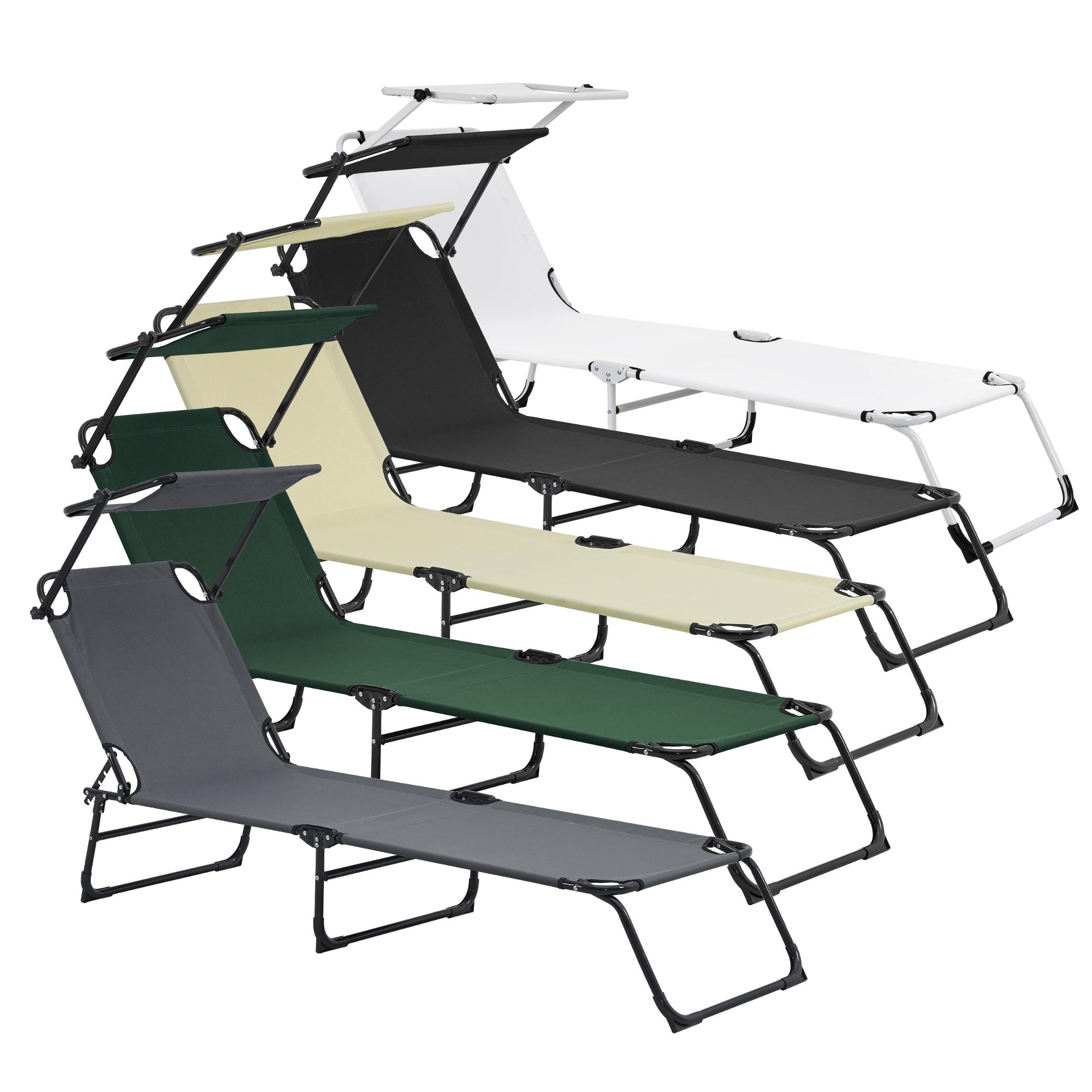 sonnenliege 190cm mit sonnendach gartenliege strandliege sunlounger ebay. Black Bedroom Furniture Sets. Home Design Ideas