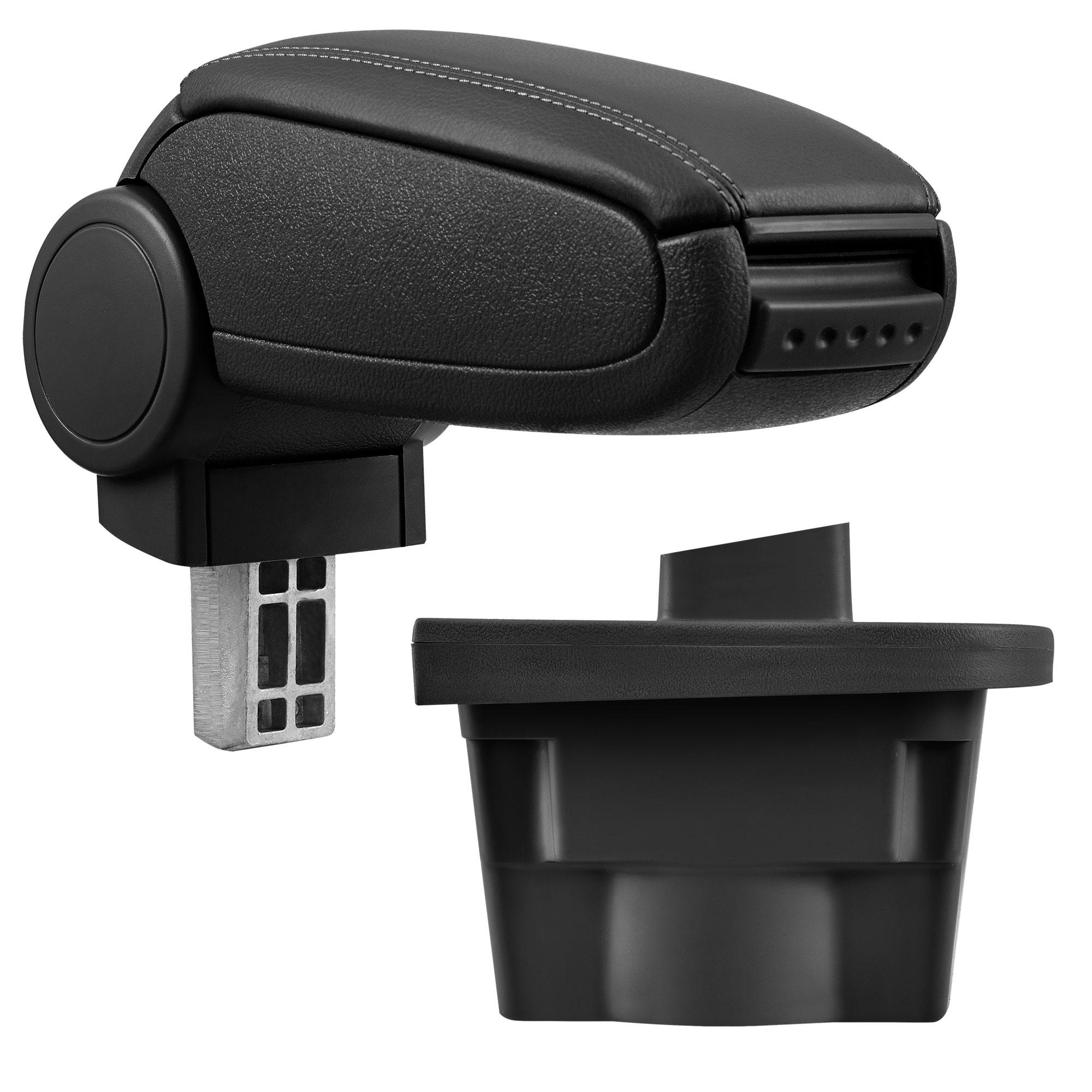 Středová loketní opěrka - vhodná pro: Opel Astra J - umělá kůže - Černá s černými švy