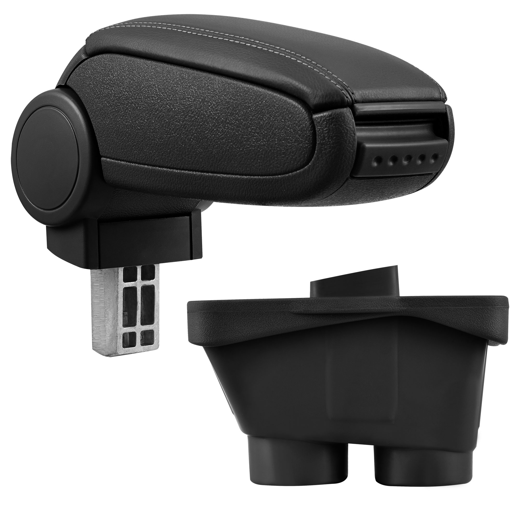 Středová loketní opěrka - vhodná pro: Peugeot 208 (Rok výroby od 2012, 3dv/5dv) - umělá kůže - Černá s černými švy
