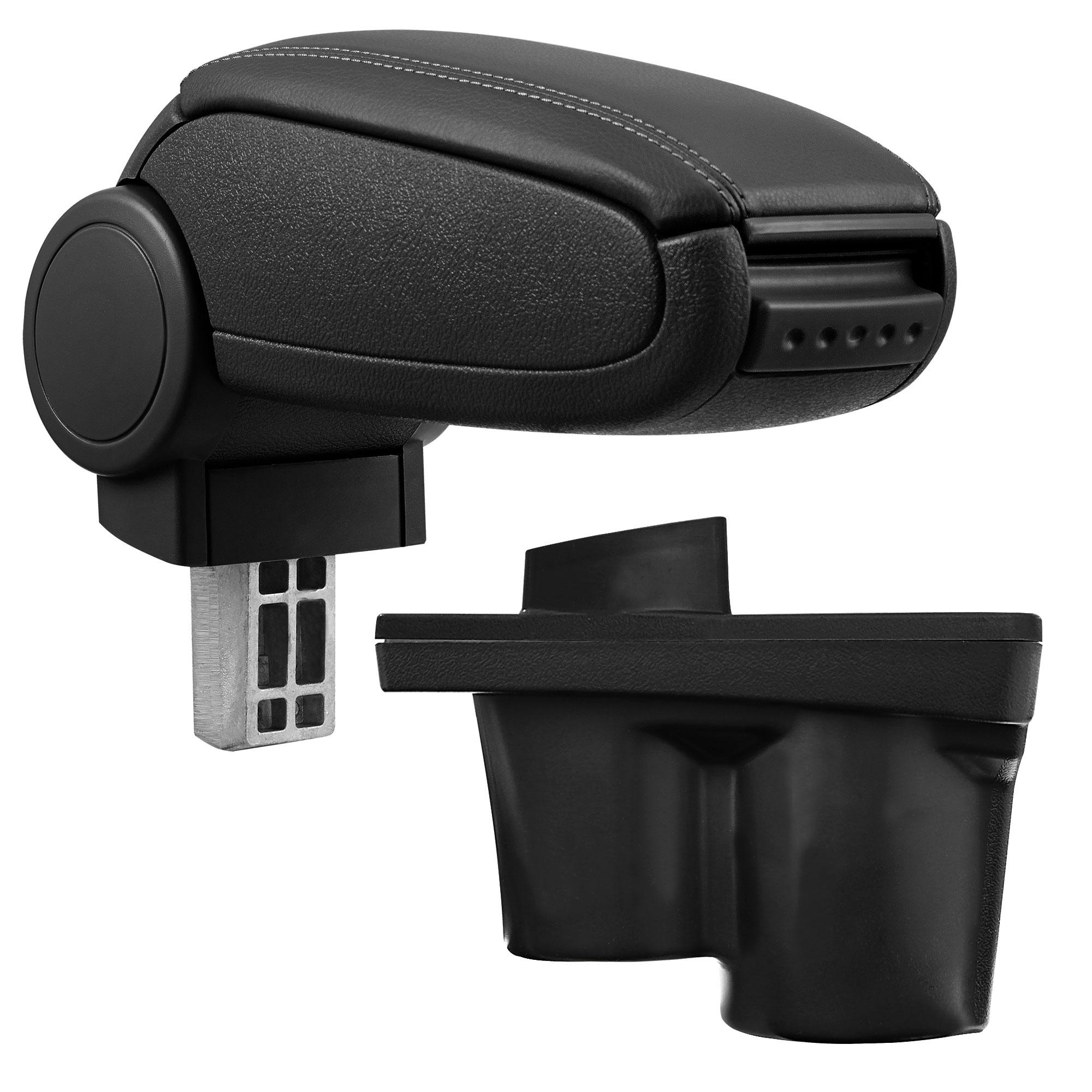 Středová loketní opěrka - vhodná pro: Opel Adam - umělá kůže - Černá s černými švy