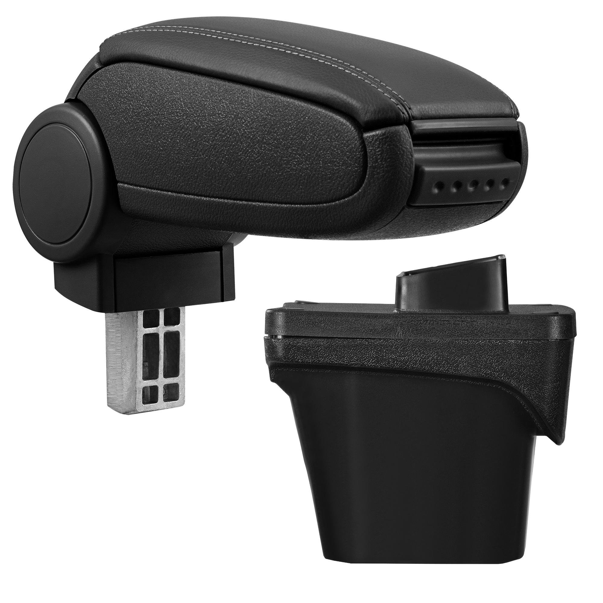 Středová loketní opěrka - vhodná pro: Peugeot 308 II (2. generace - Od konce roku 2013) - umělá kůže - Černá s černými švy